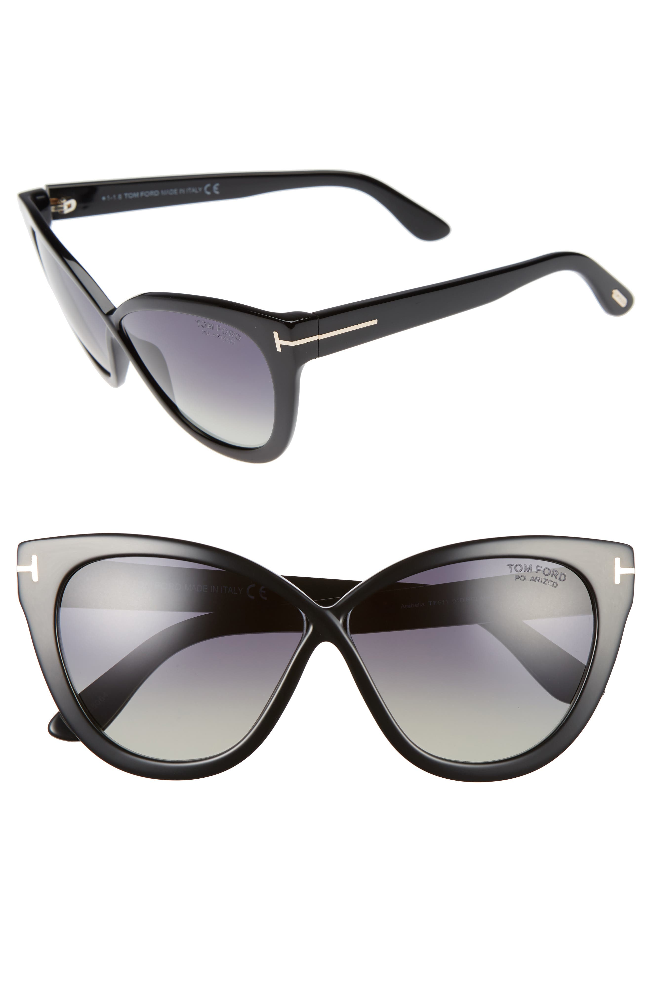 Arabella 59mm Cat Eye Sunglasses,                             Alternate thumbnail 2, color,                             001