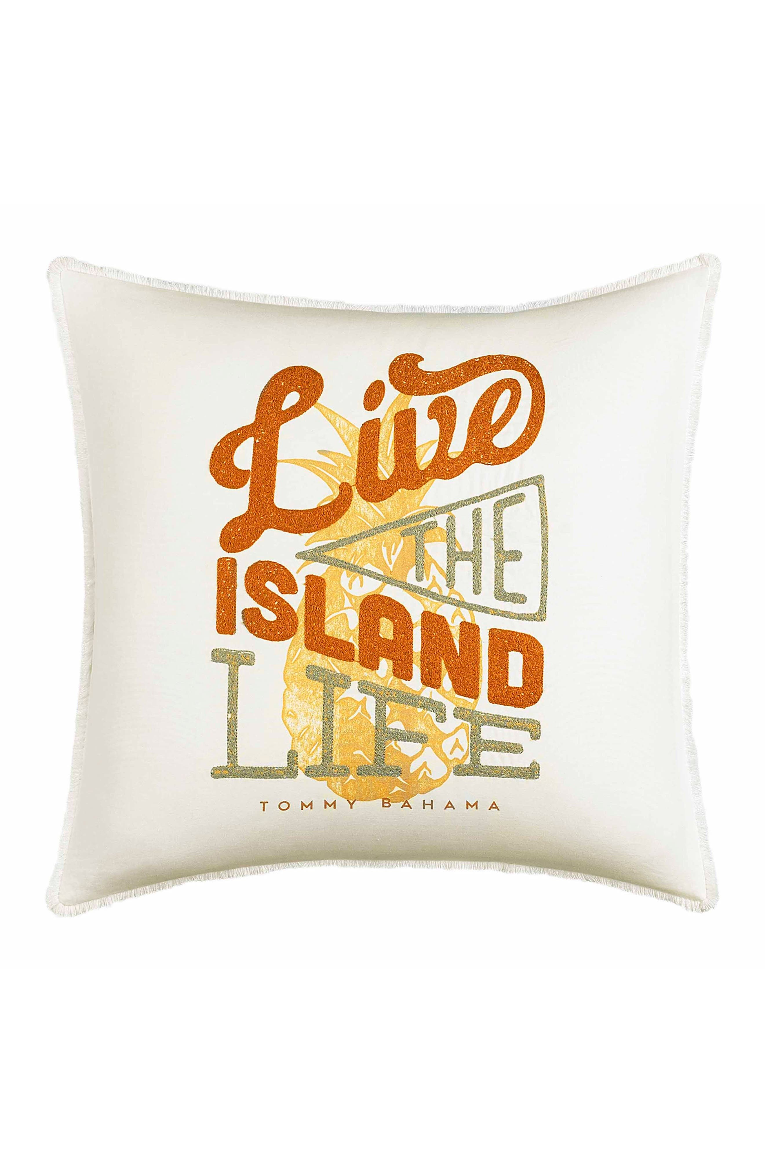 TOMMY BAHAMA Live the Island Life Accent Pillow, Main, color, BURNT CORAL