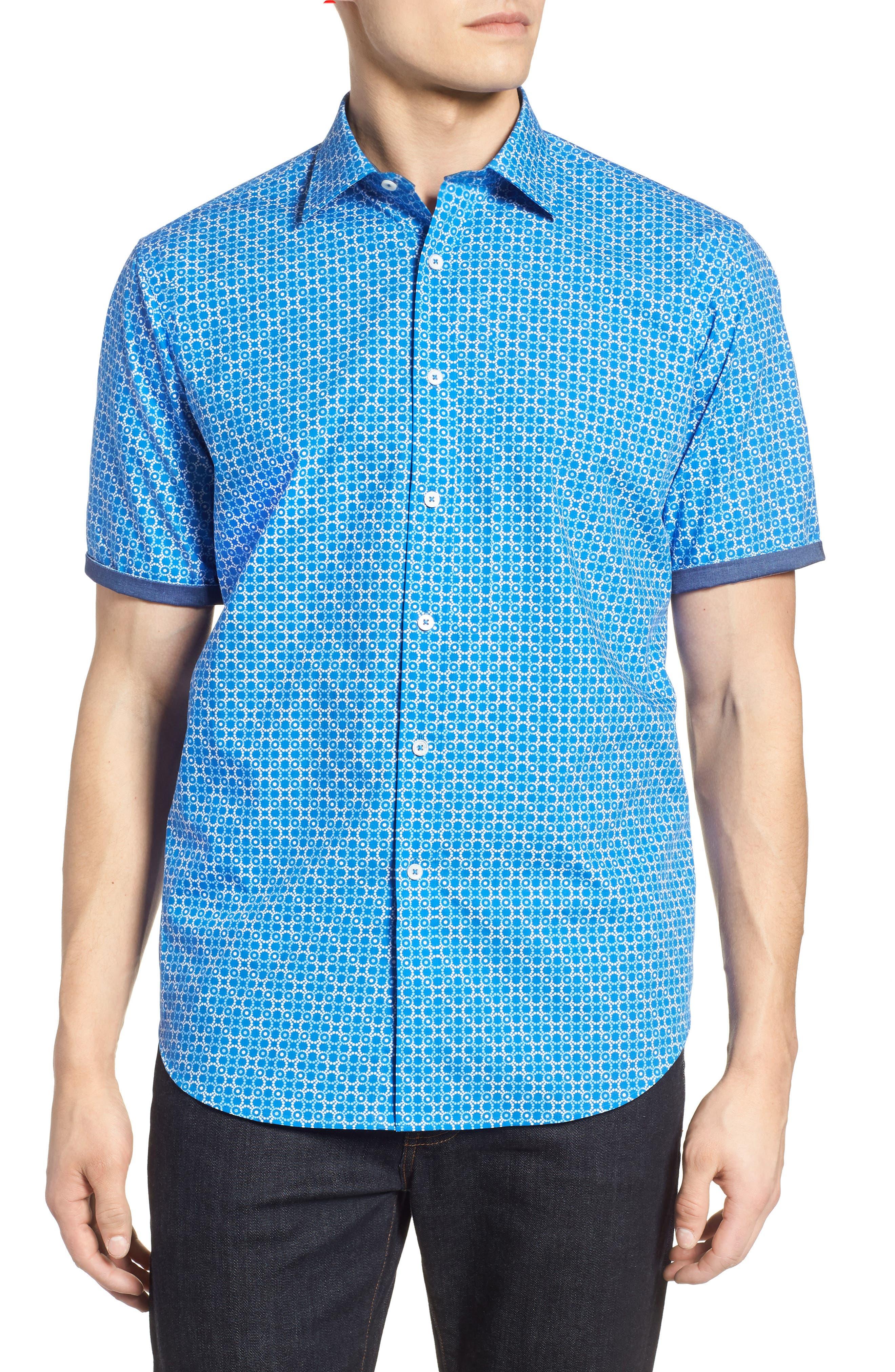 Classic Fit Circle Grid Sport Shirt,                             Alternate thumbnail 4, color,                             CLASSIC BLUE