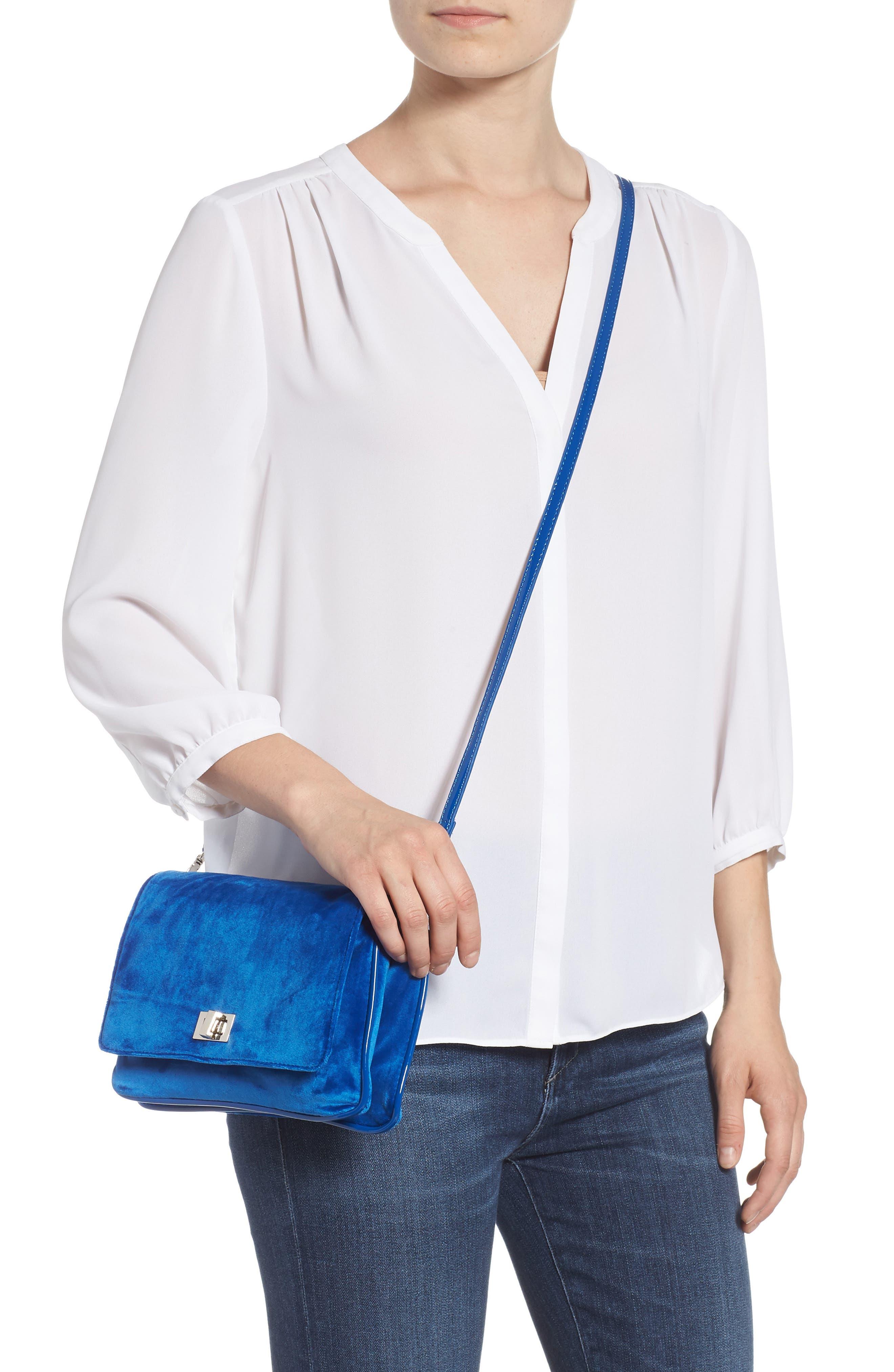 Velvet Crossbody Bag,                             Alternate thumbnail 2, color,                             BLUE