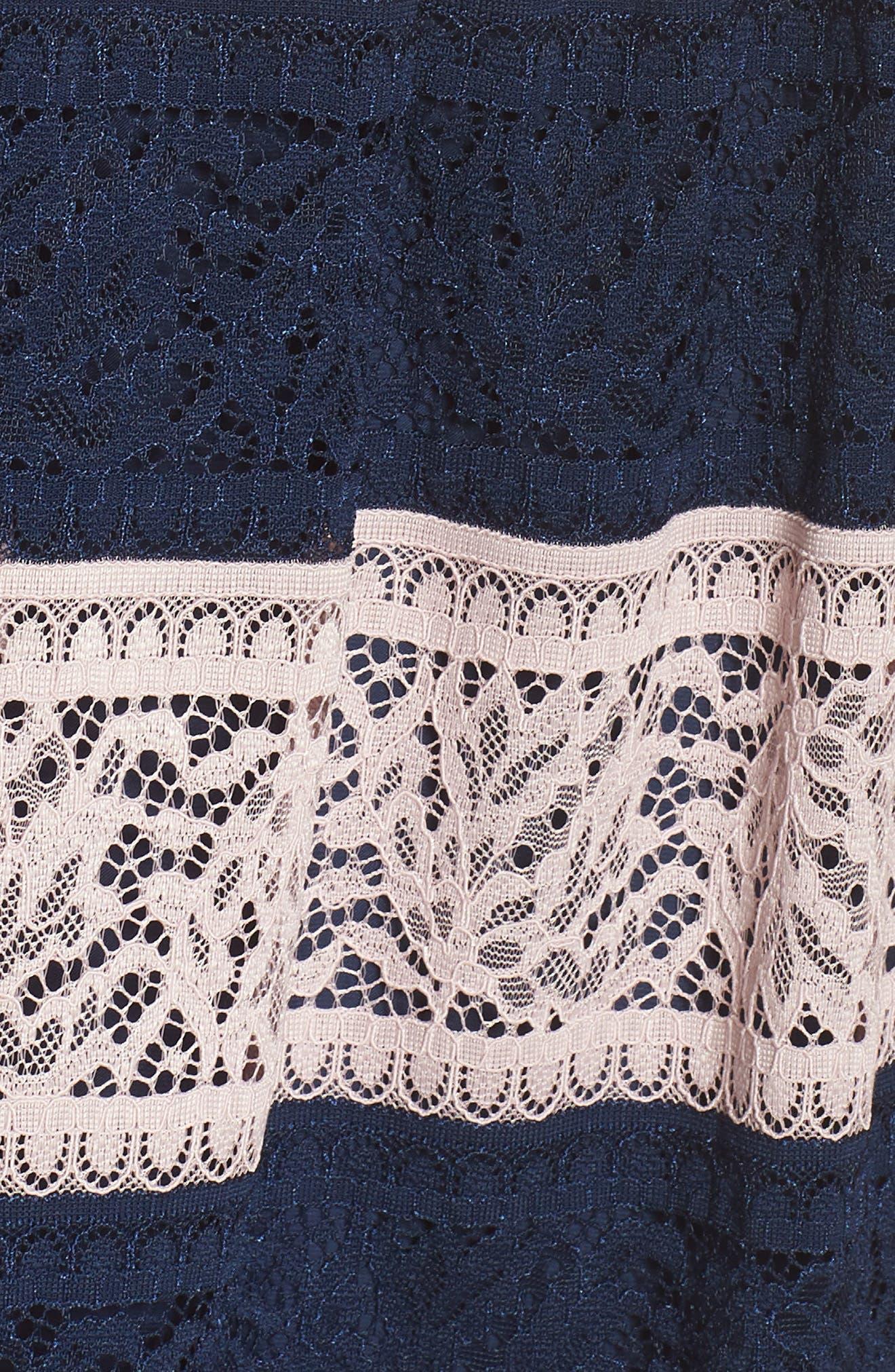 Stripe Lace Fit & Flare Dress,                             Alternate thumbnail 6, color,                             410
