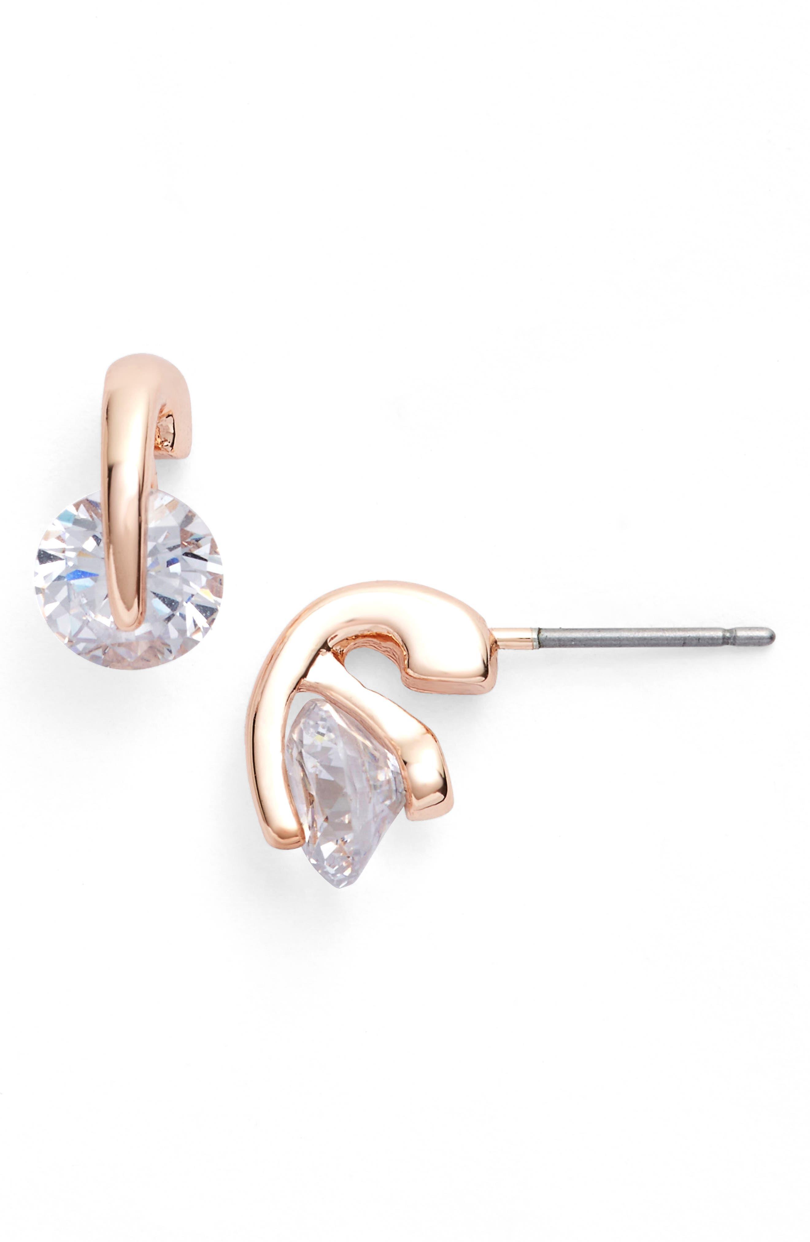 Stud Earrings,                             Alternate thumbnail 3, color,                             ROSE GOLD
