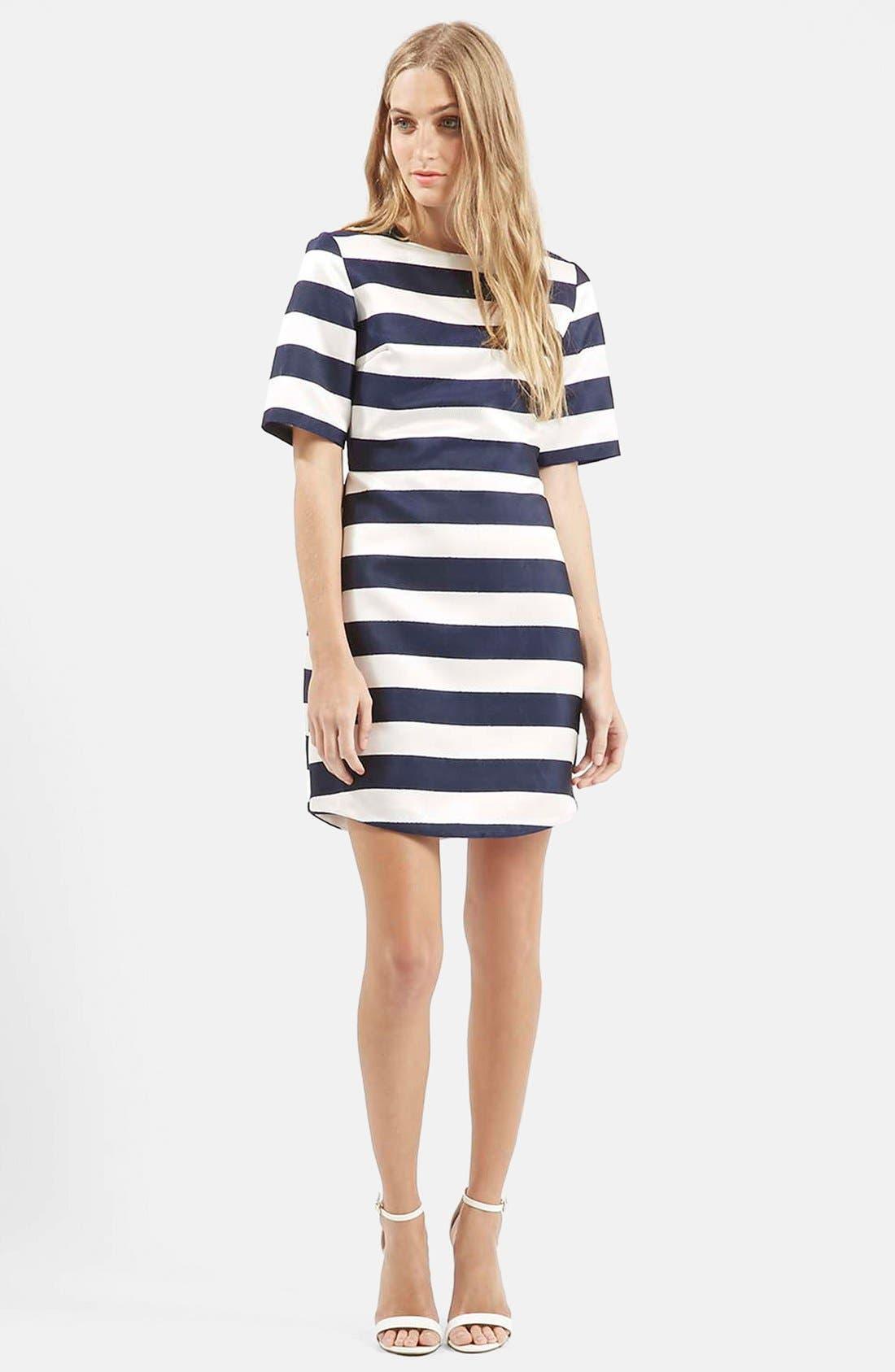 Twill & Satin Stripe Dress,                         Main,                         color, 410