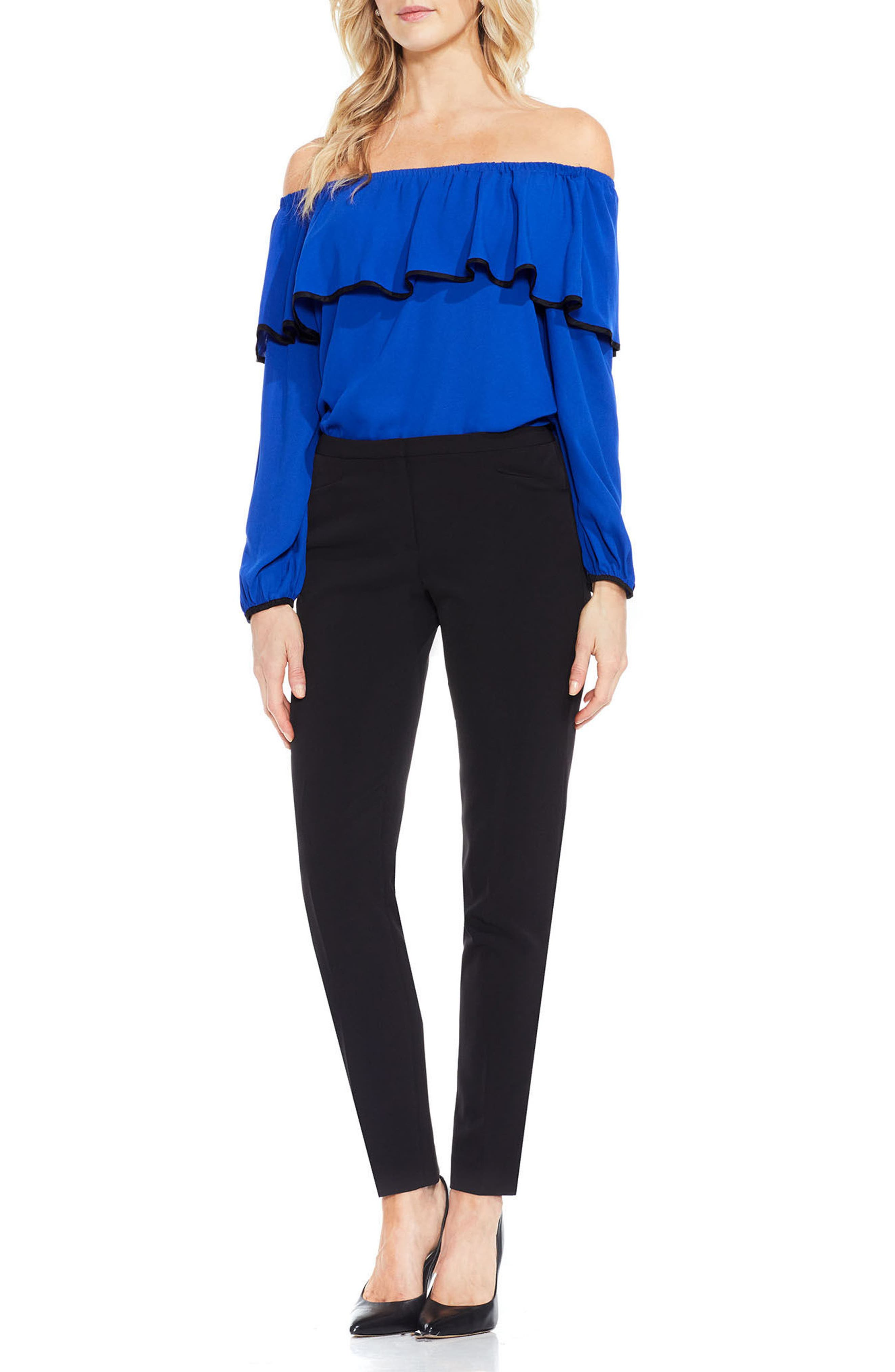VINCE CAMUTO,                             Stretch Twill Ankle Pants,                             Alternate thumbnail 4, color,                             RICH BLACK