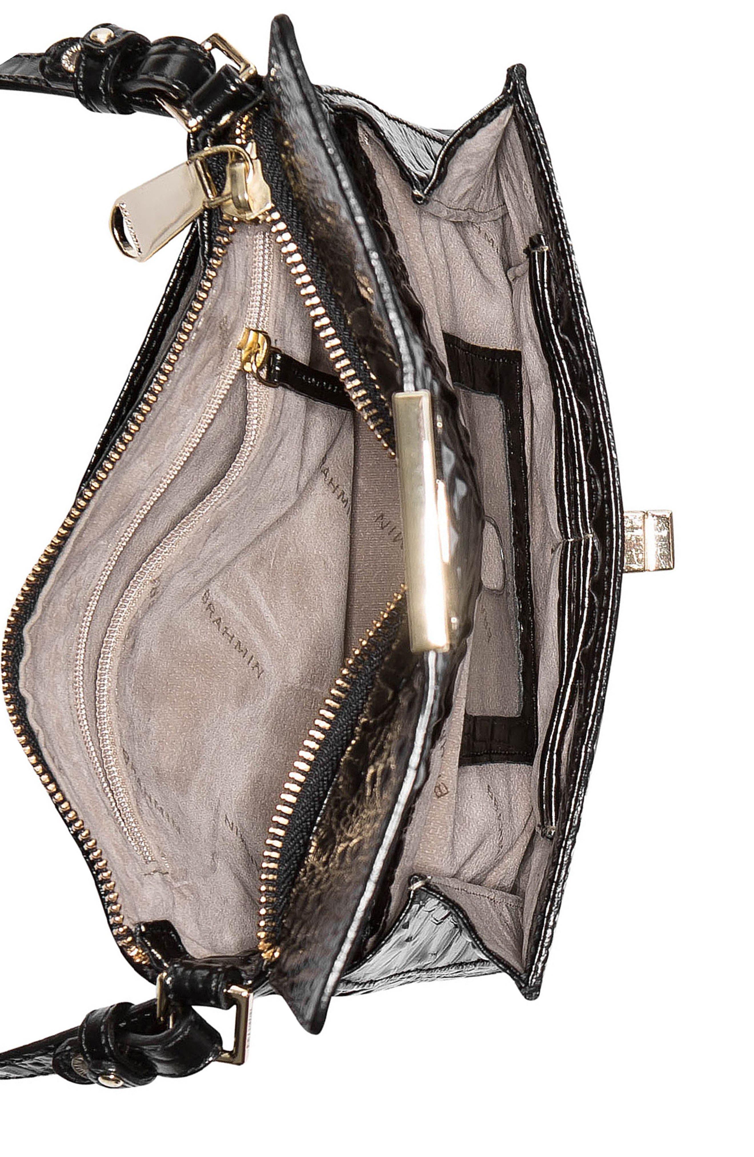 Melbourne Manhattan Croc Embossed Leather Crossbody Bag,                             Alternate thumbnail 4, color,                             BLACK