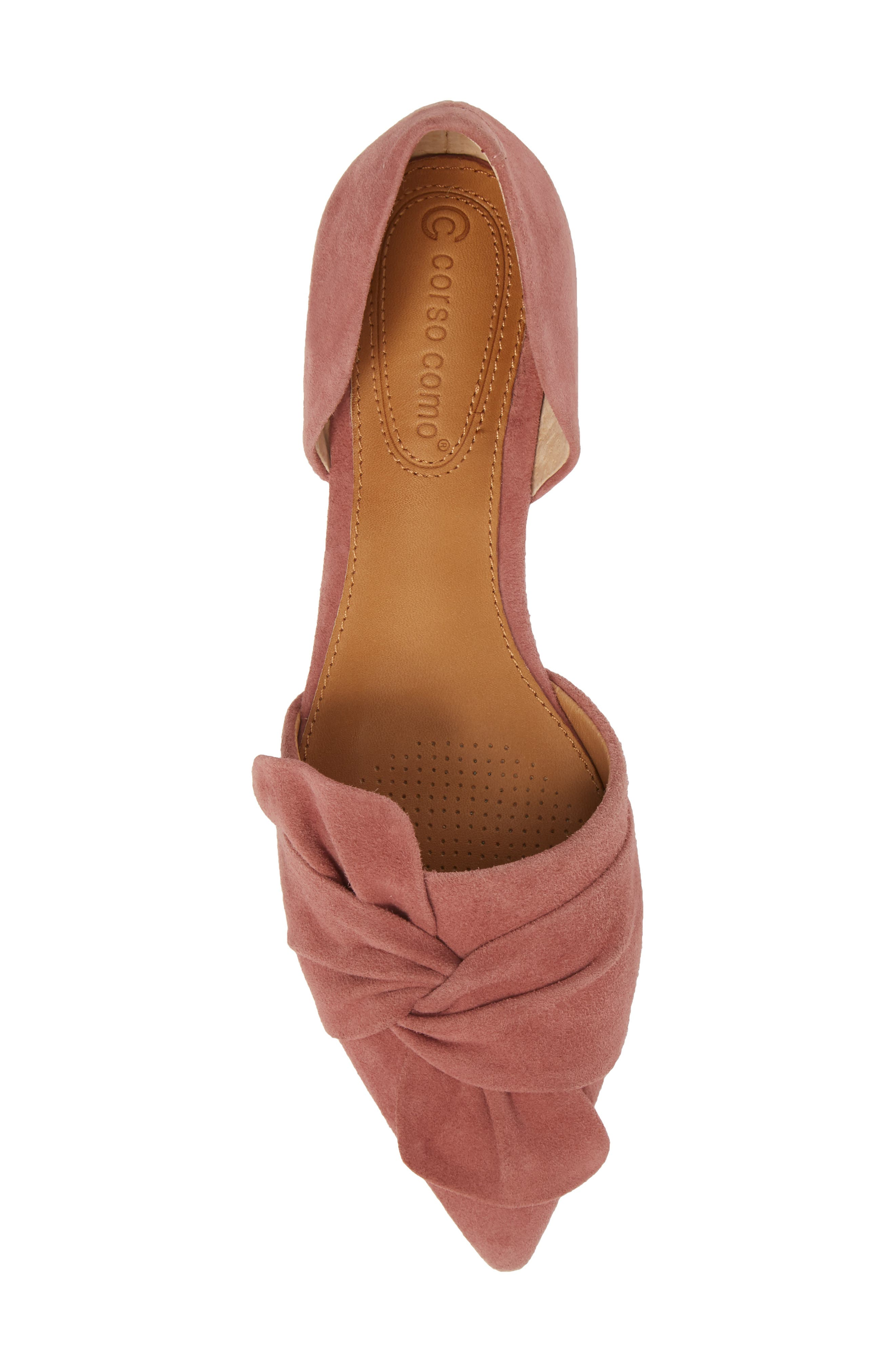 Mollie d'Orsay Flat,                             Alternate thumbnail 5, color,                             OLD ROSE SUEDE