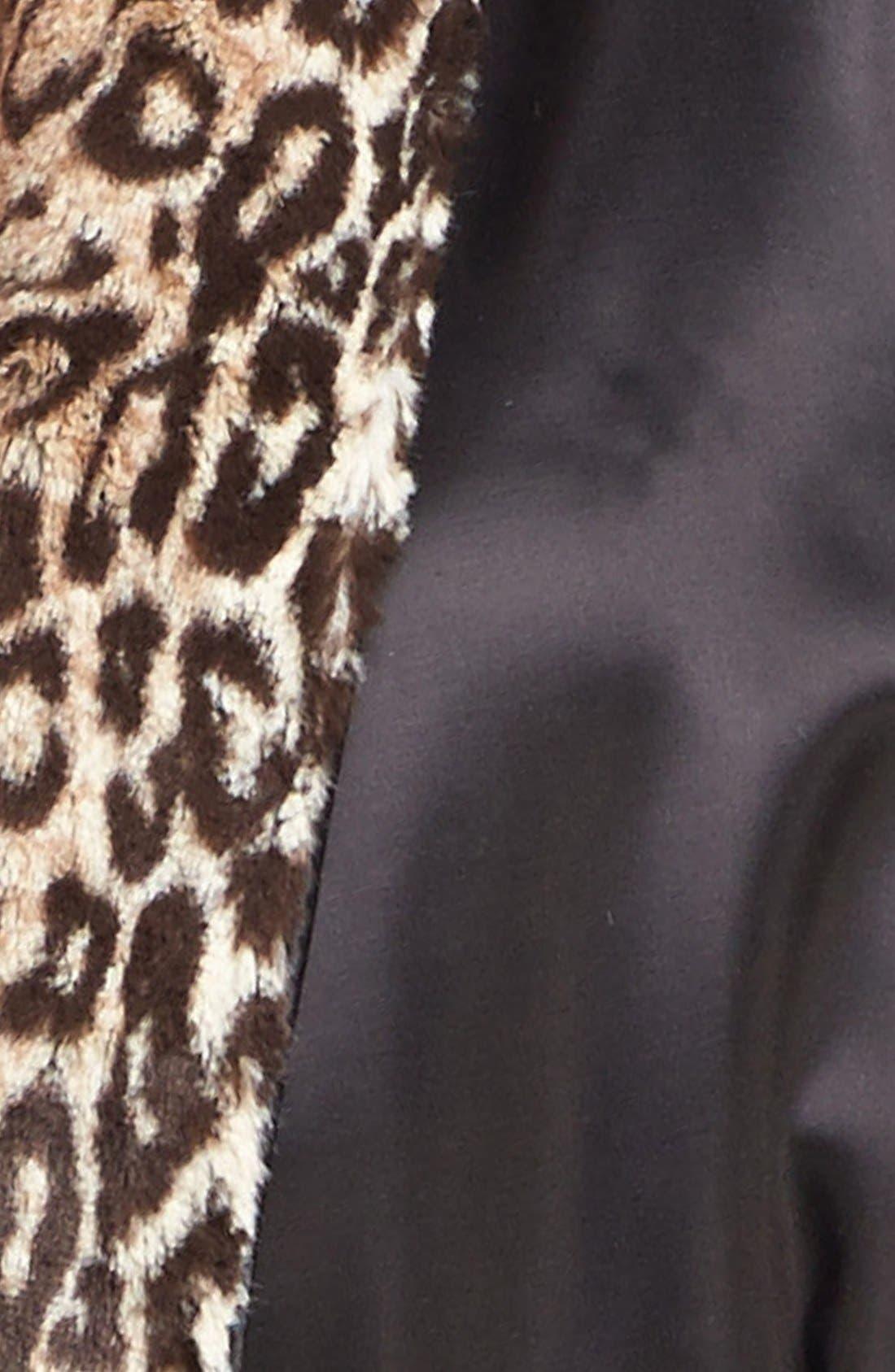 Faux Fur & Satin Robe,                             Alternate thumbnail 3, color,                             ESPRESSO