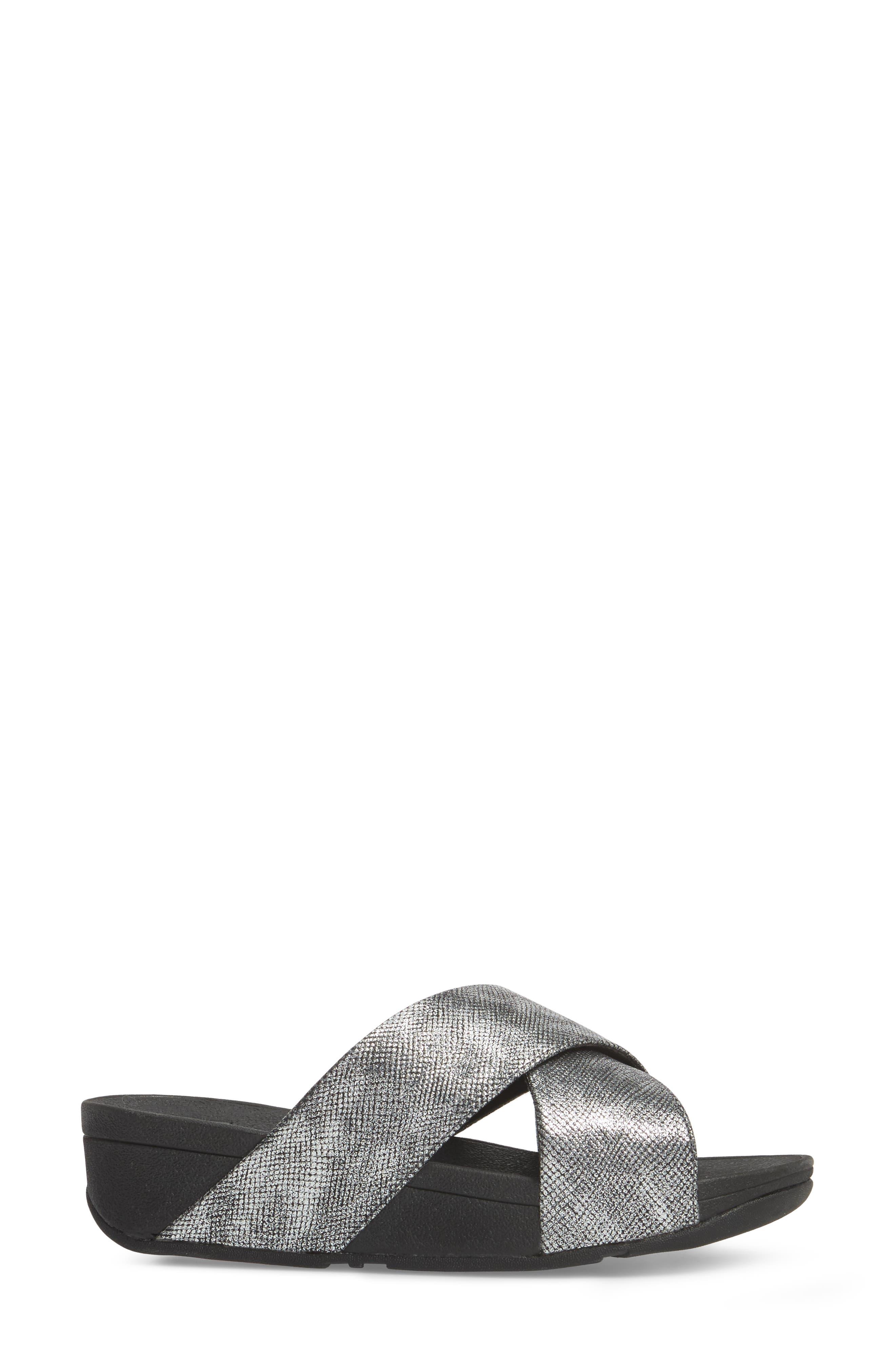 Lulu Cross Slide Sandal,                             Alternate thumbnail 3, color,                             BLACK SHIMMER PRINT