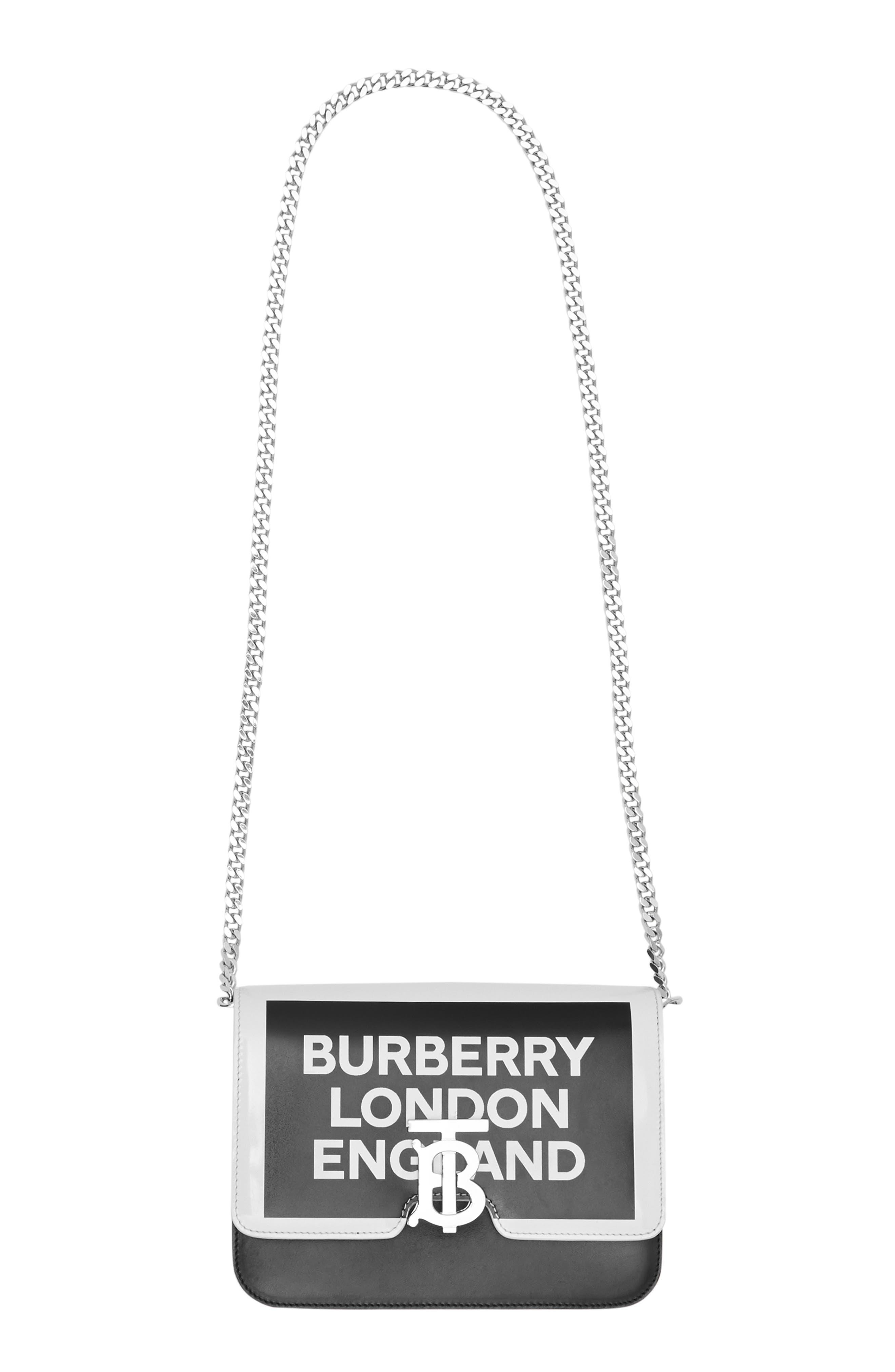 BURBERRY,                             Small Painted Edge Logo TB Crossbody Bag,                             Main thumbnail 1, color,                             BLACK/ WHITE