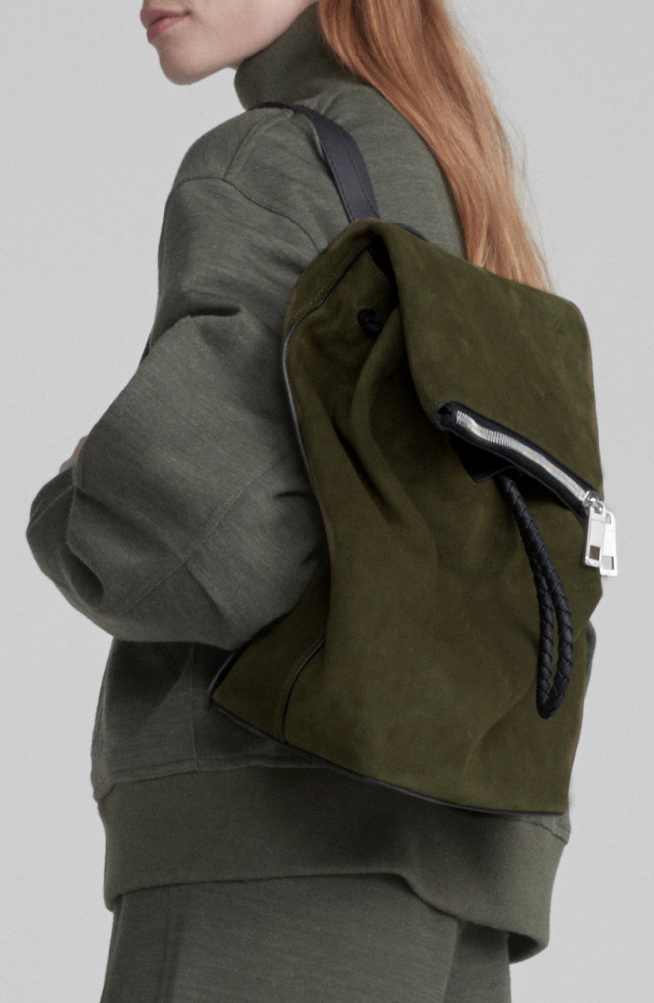 Loner Leather Backpack,                             Alternate thumbnail 2, color,                             OLIVE NIGHT SUEDE