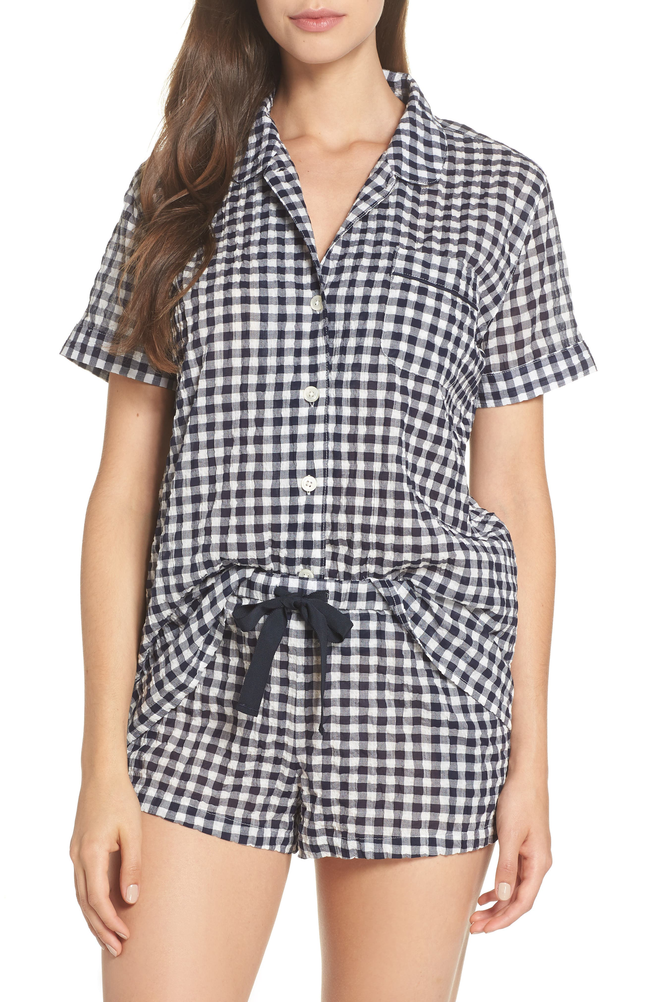 Gingham Pajama Set,                             Main thumbnail 1, color,                             IVORY/ NAVY
