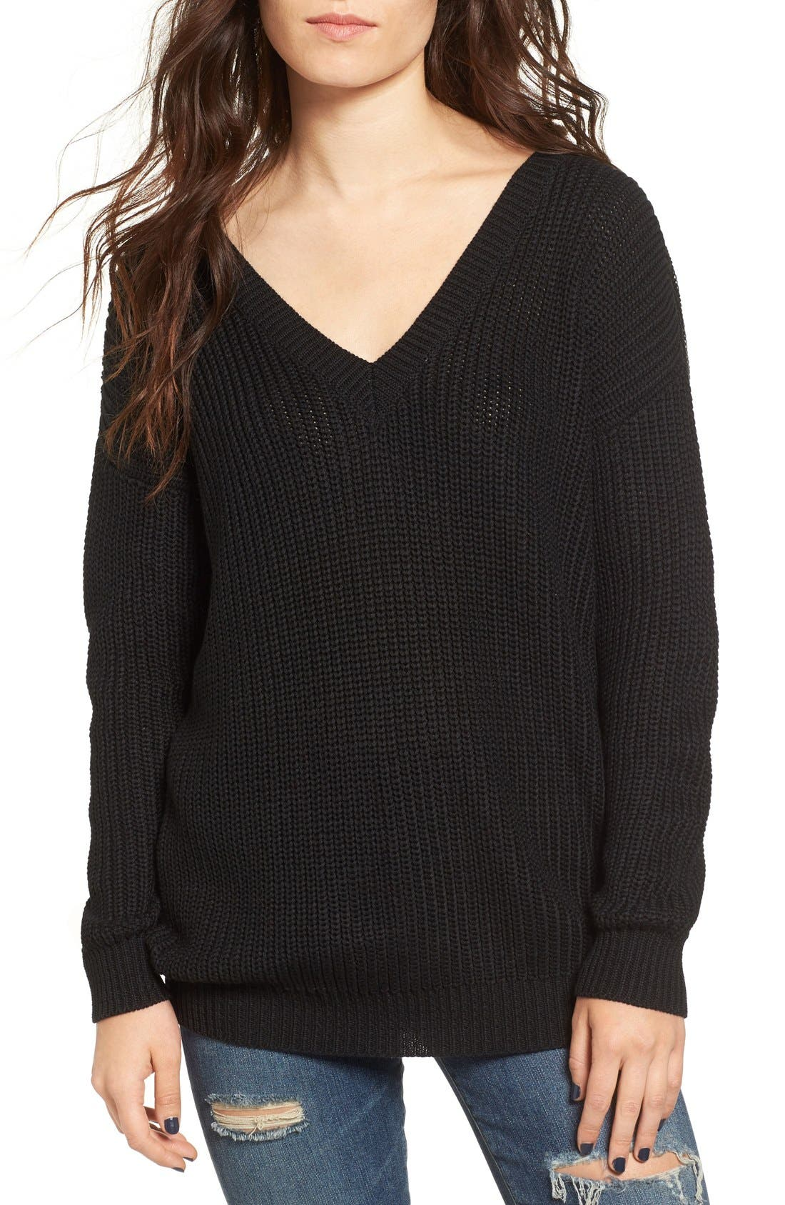 Lace-Up Back Sweater,                             Alternate thumbnail 4, color,                             001