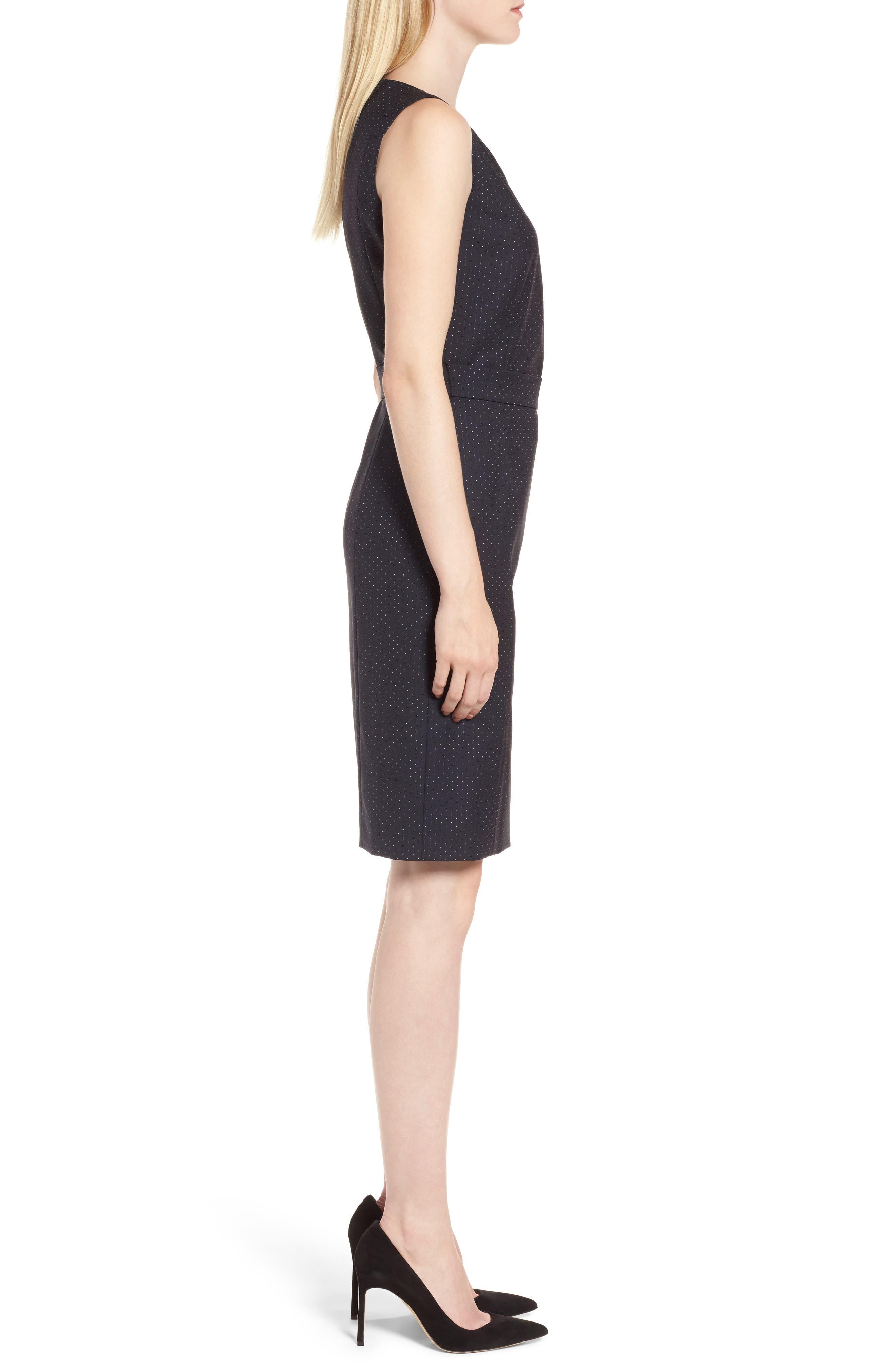Dinalia Mini Dot Belted Wool Sheath Dress,                             Alternate thumbnail 3, color,                             461