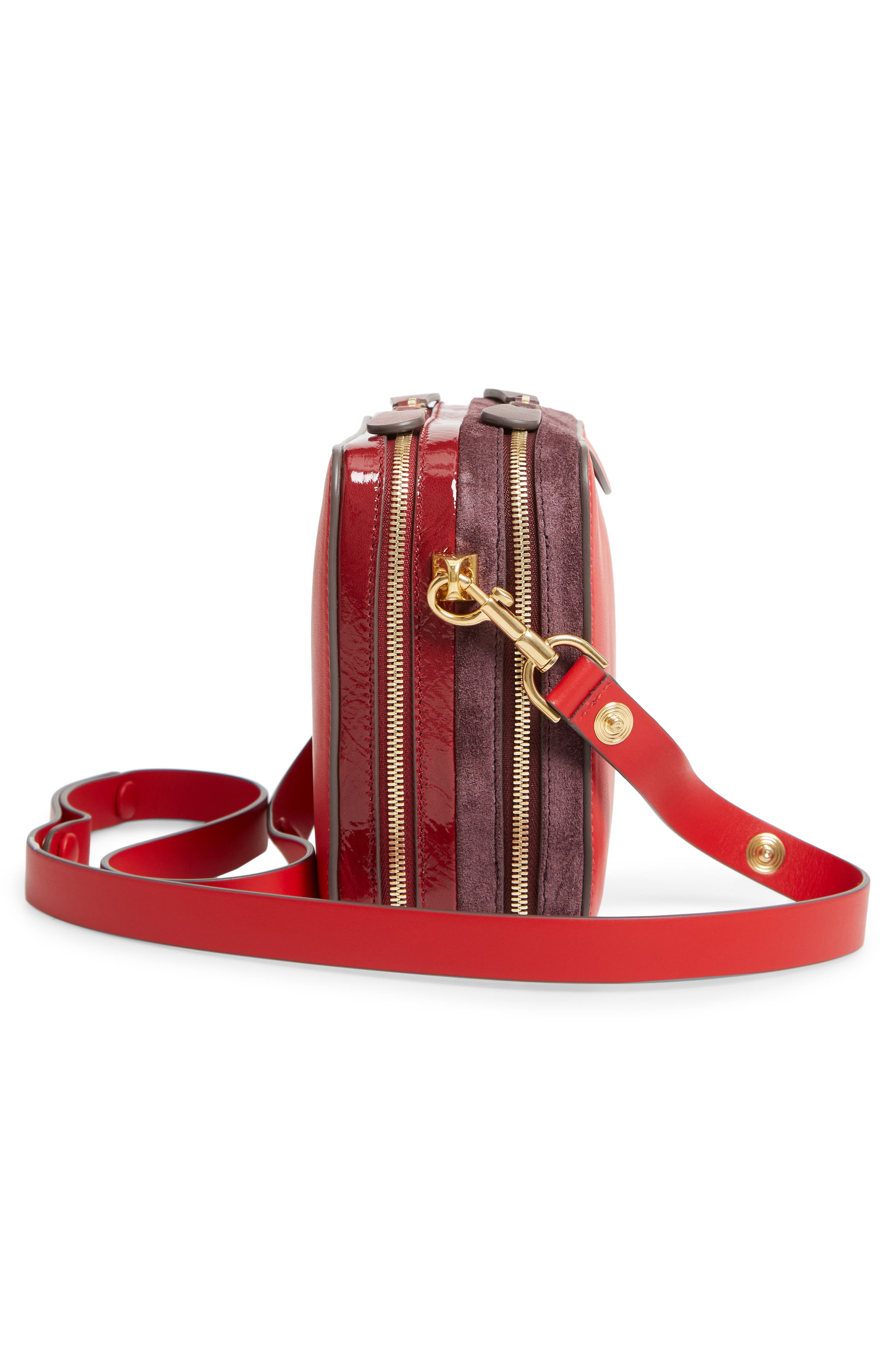 The Double Stack Leather Crossbody Bag,                             Alternate thumbnail 5, color,                             BRIGHT RED/ OXBLOOD