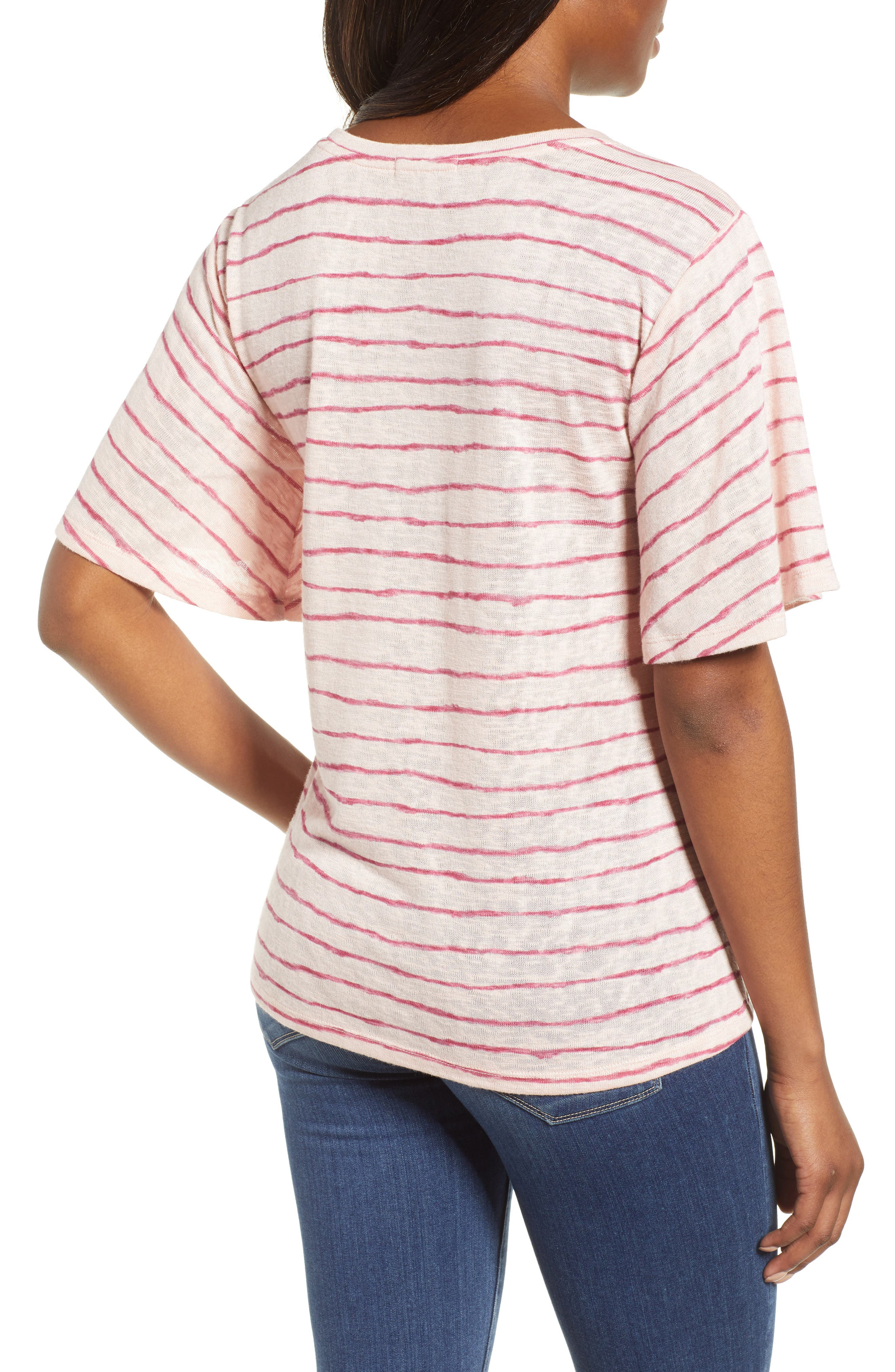 Ruched Side Ribbon Tee,                             Alternate thumbnail 4, color,
