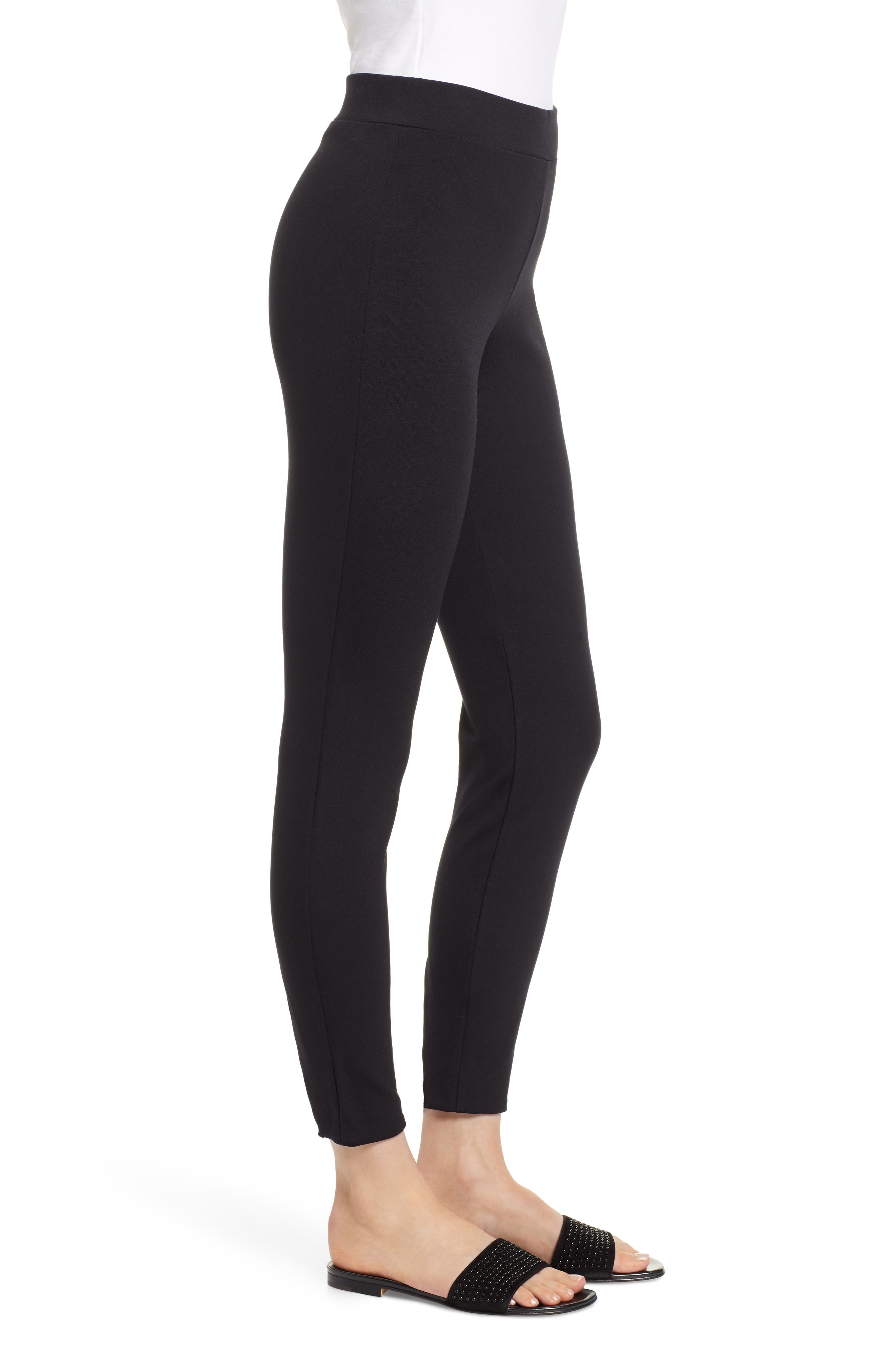 Grace Laced Detail Leggings,                             Alternate thumbnail 3, color,                             BLACK/ BLACK