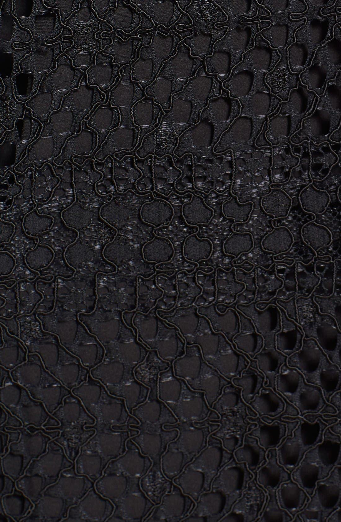 TAHARI,                             Elie Tahari 'Whitney' Split Neck Lace Sheath Dress,                             Alternate thumbnail 4, color,                             001