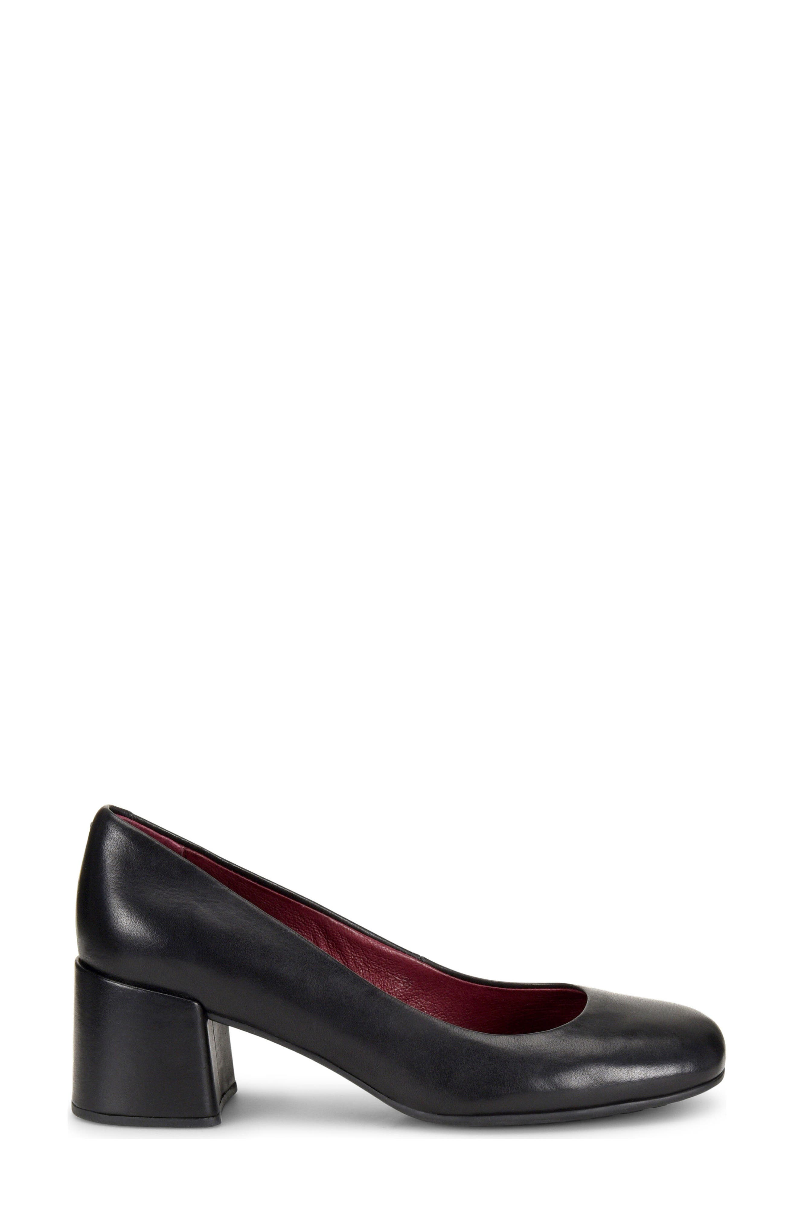 Magnolia Block Heel Pump,                             Alternate thumbnail 3, color,                             BLACK LEATHER