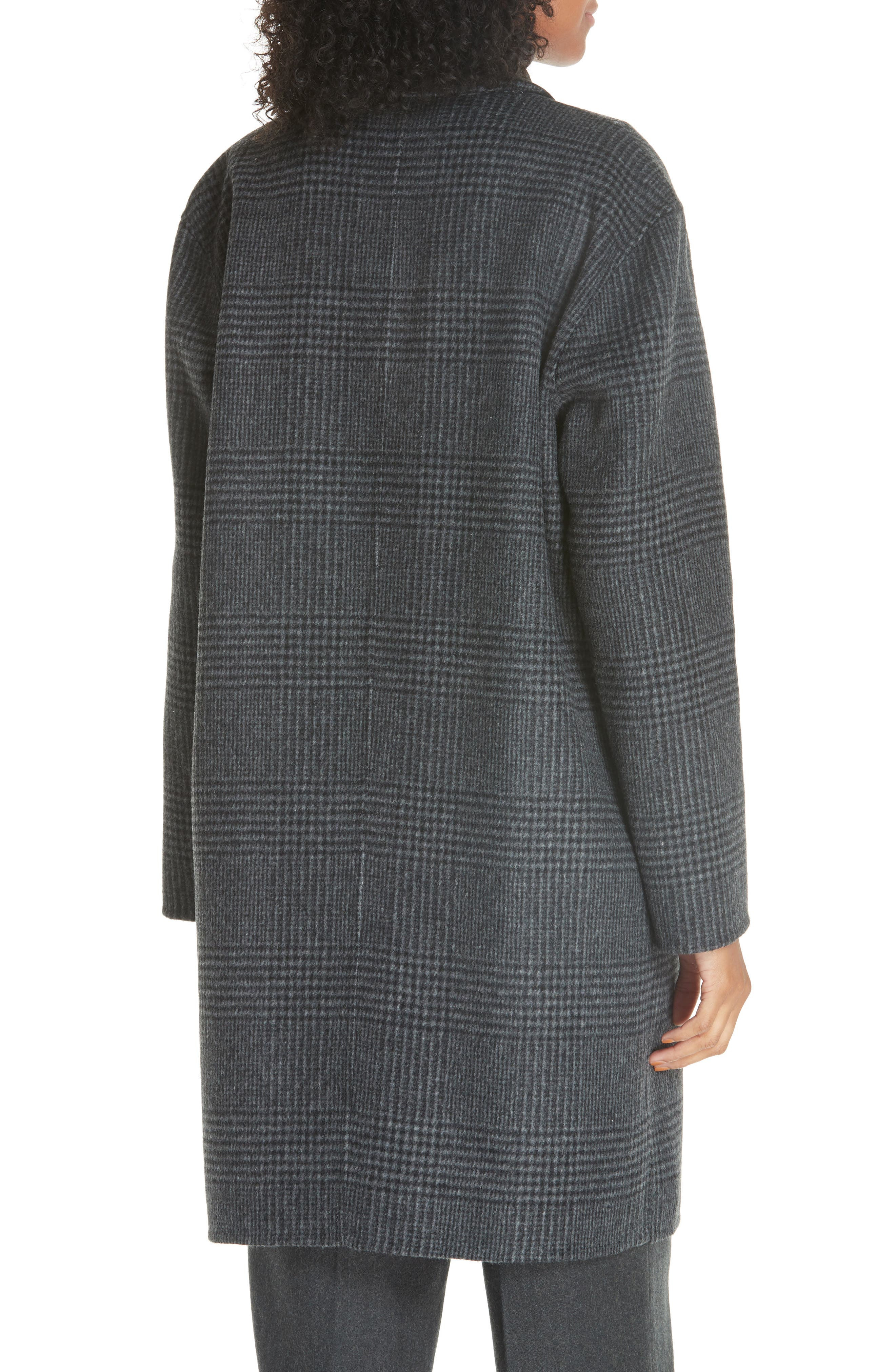 Plaid Wool Blend Coat,                             Alternate thumbnail 2, color,                             CHARCOAL GLEN PLAID