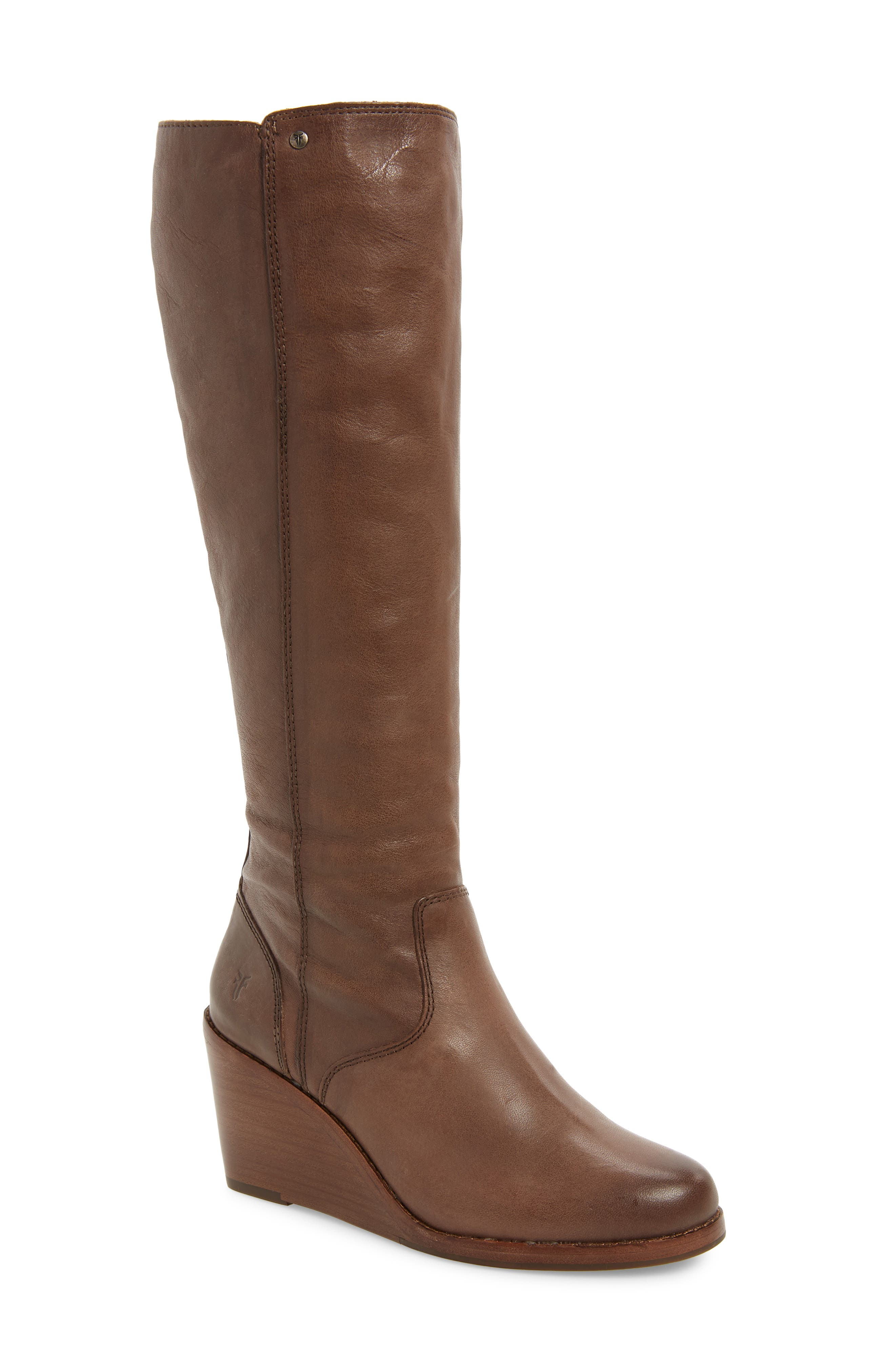 Frye Emma Knee High Wedge Boot, Brown