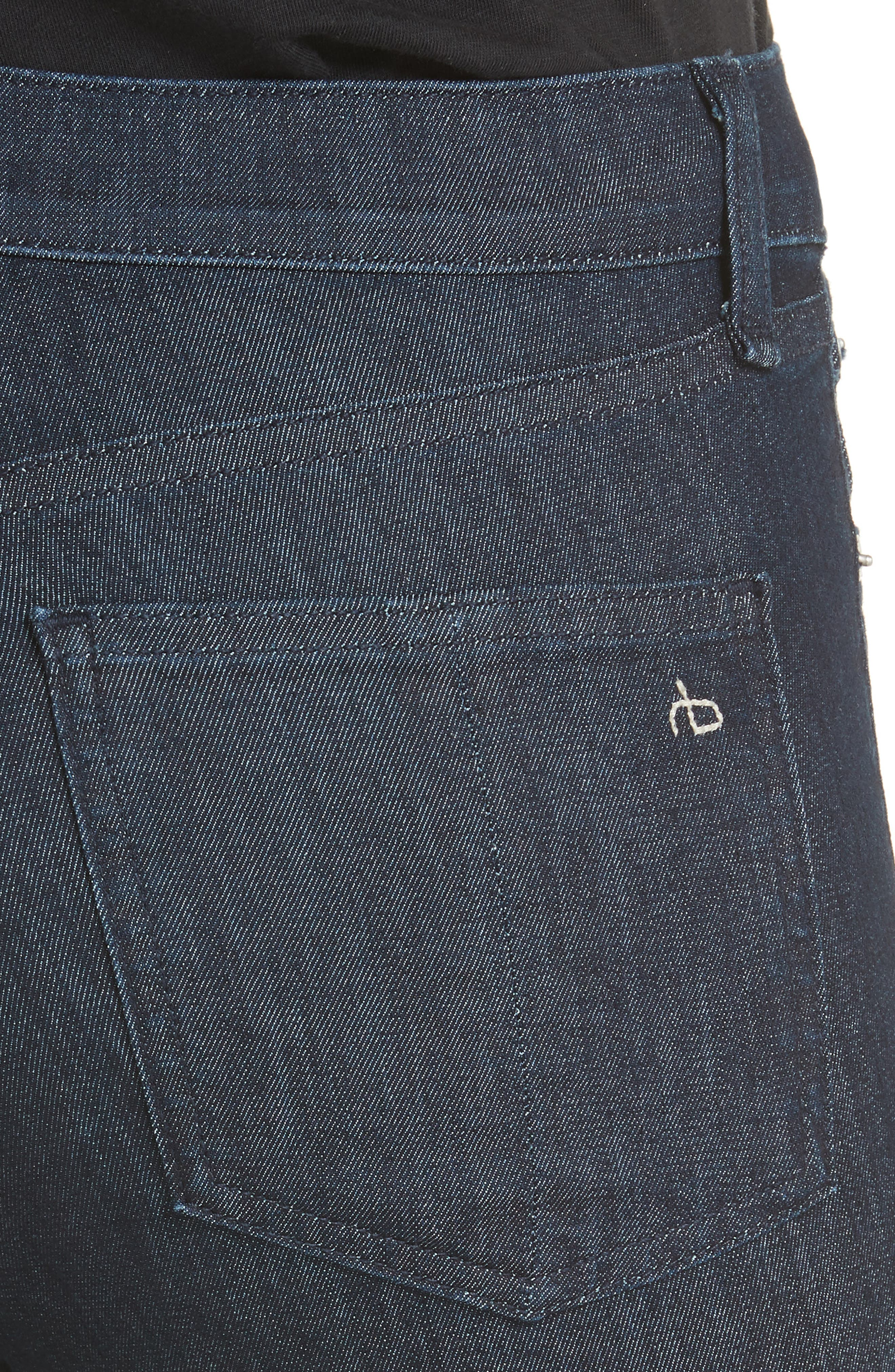 High Waist Skinny Jeans,                             Alternate thumbnail 4, color,                             INDIGO