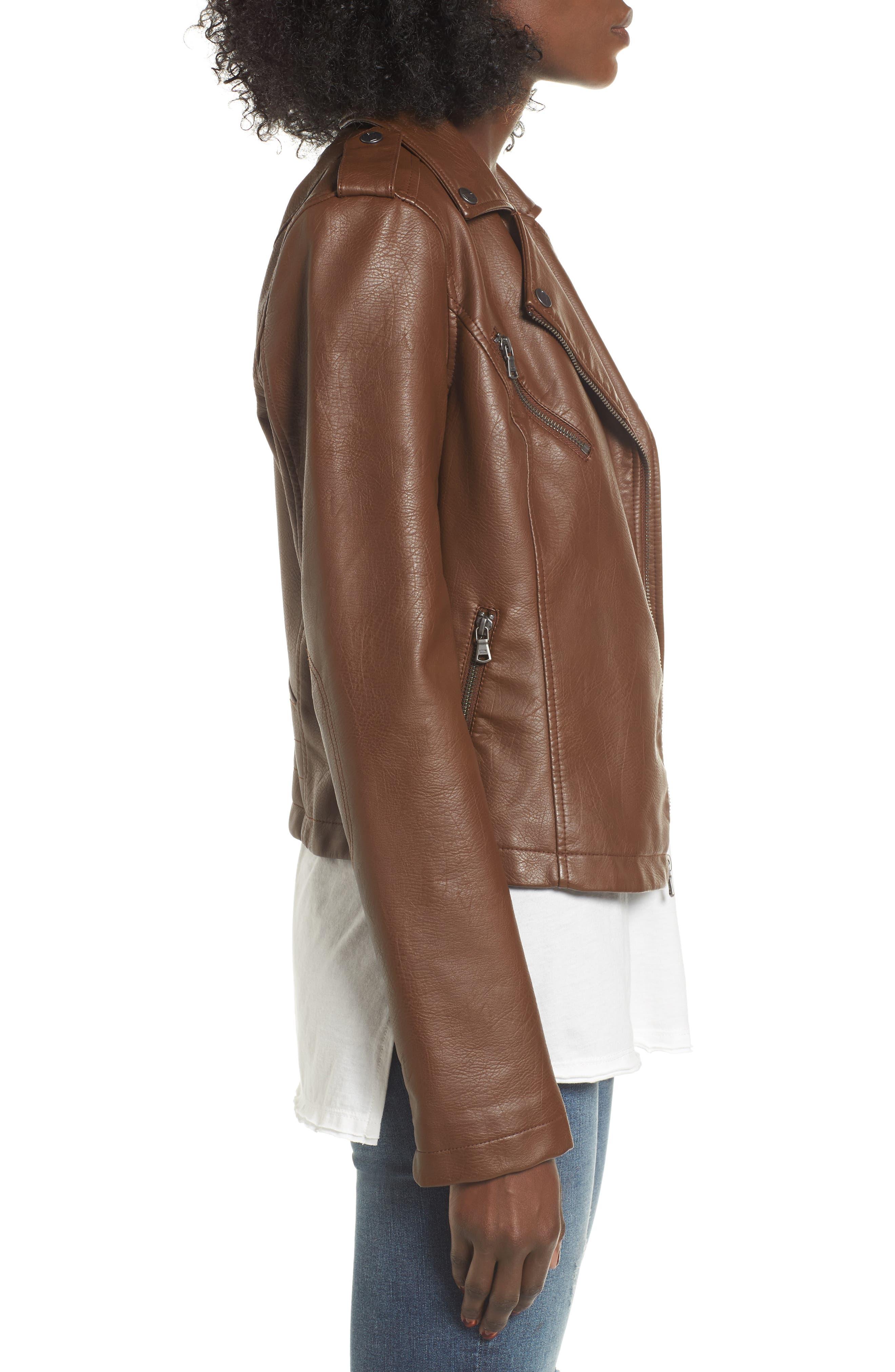Faux Leather Moto Jacket,                             Alternate thumbnail 3, color,                             COGNAC