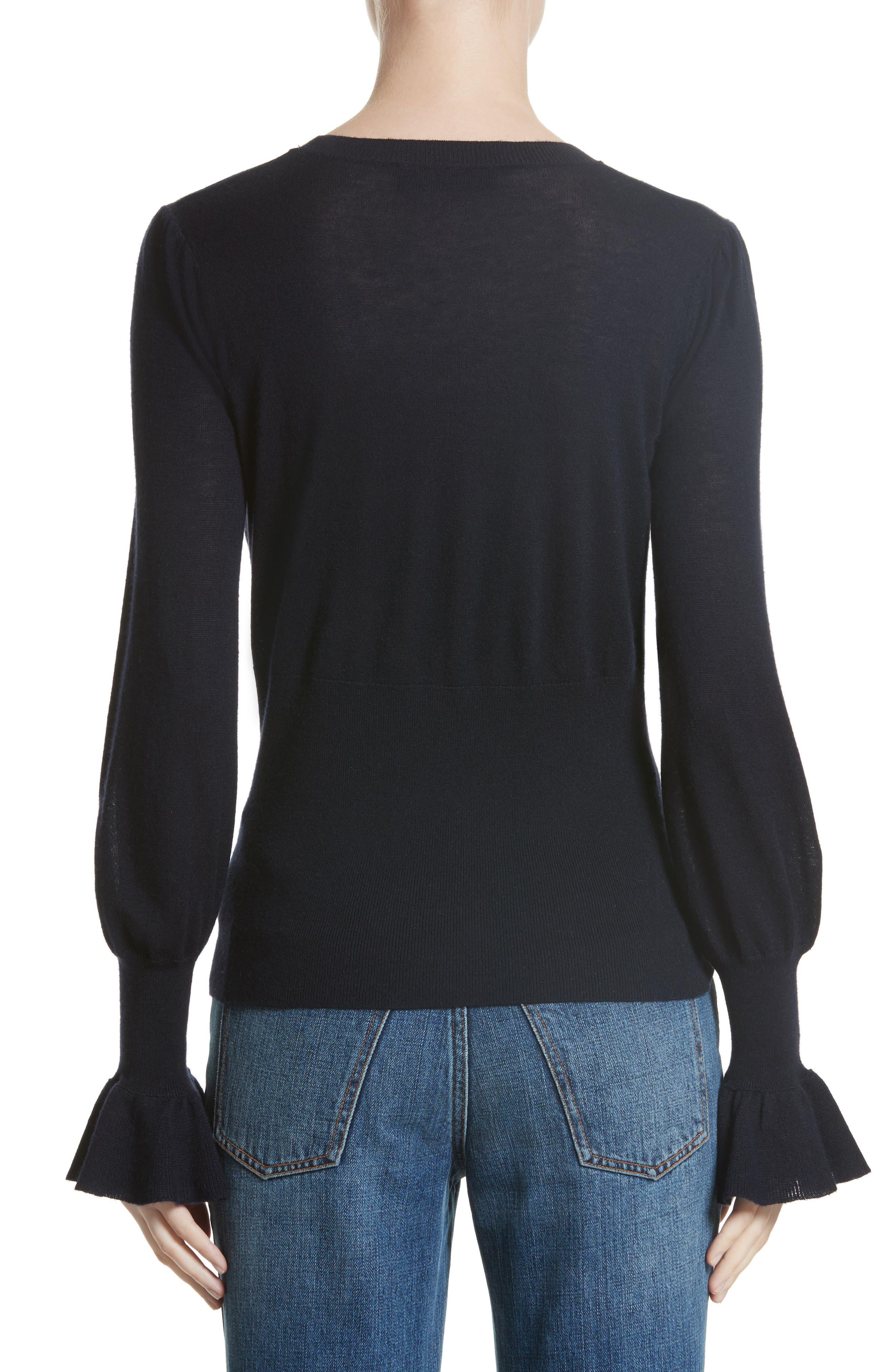 Ruffle Sleeve Silk & Cashmere Sweater,                             Alternate thumbnail 2, color,                             410