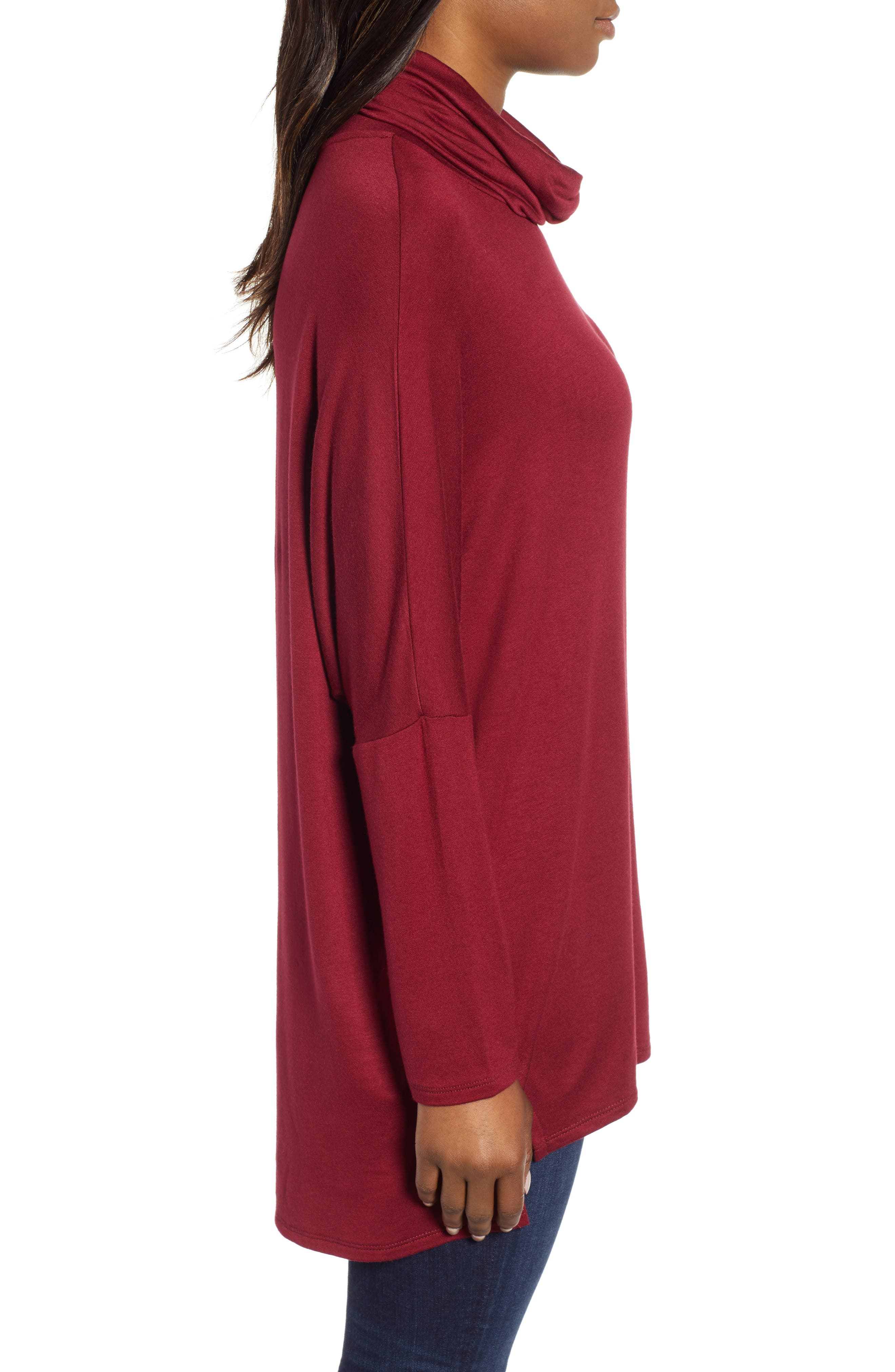 High/Low Tunic,                             Alternate thumbnail 3, color,                             MAROON