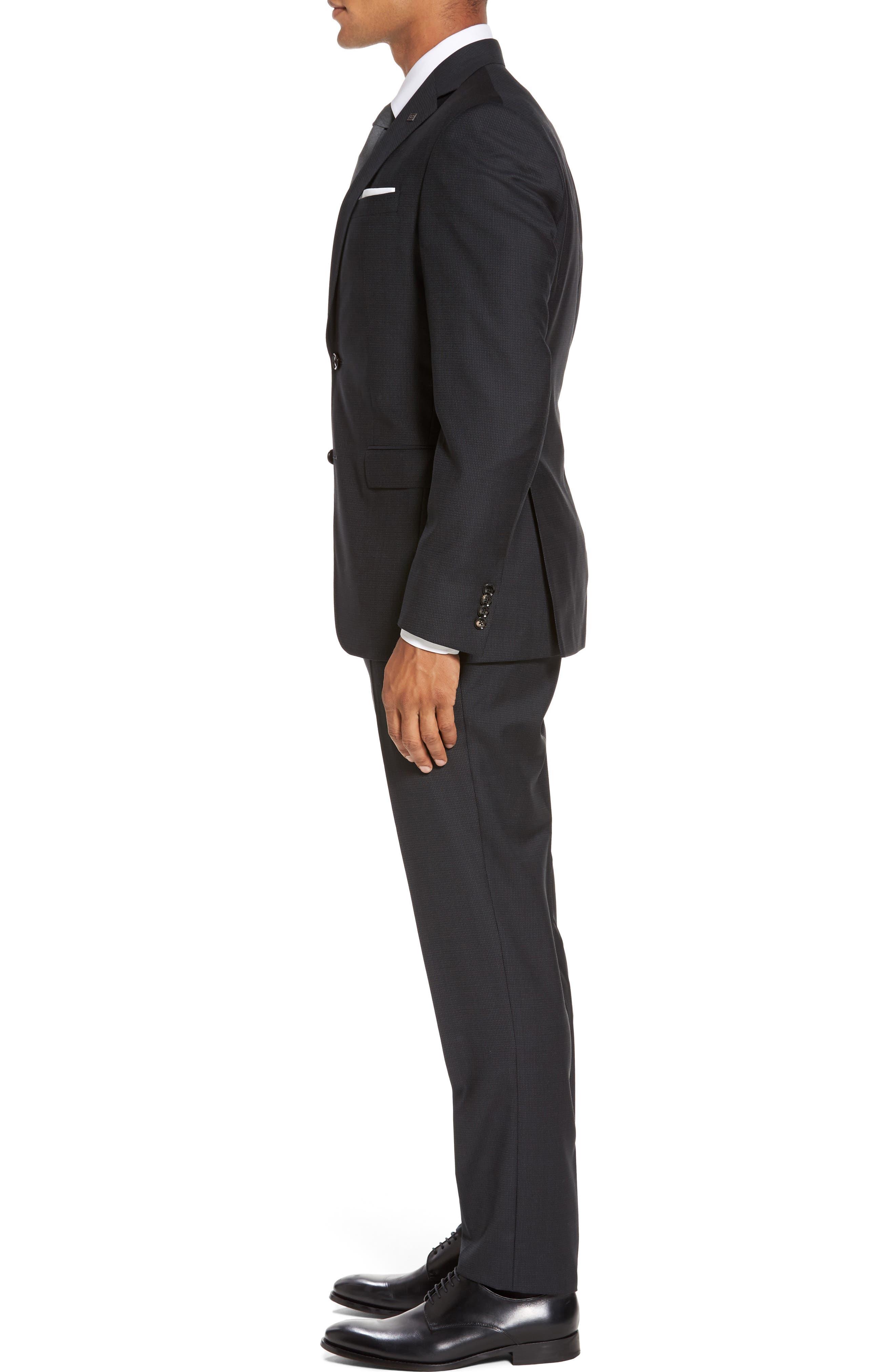 Roger Trim Fit Solid Wool Suit,                             Alternate thumbnail 3, color,                             001