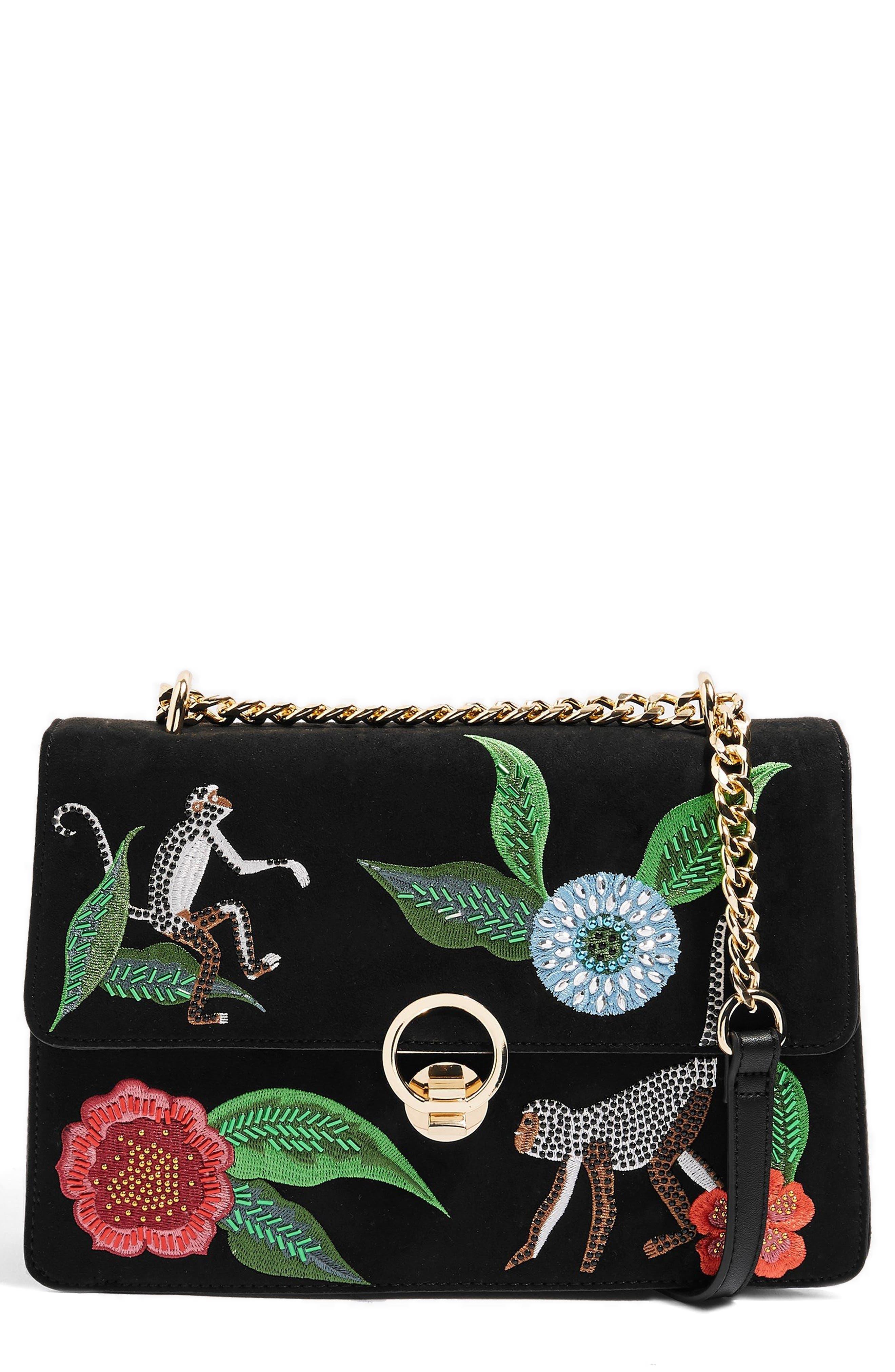 Milo Monkey Floral Shoulder Bag,                         Main,                         color, BLACK