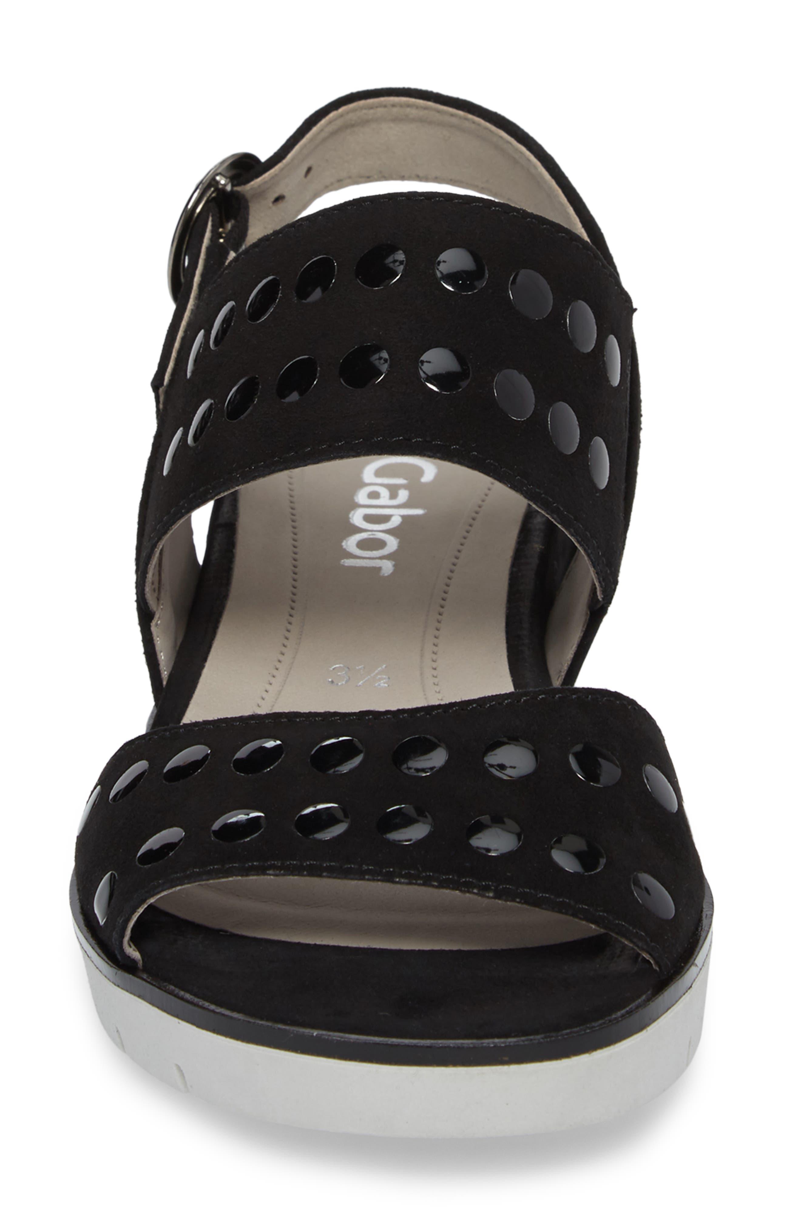 Studded Sandal,                             Alternate thumbnail 4, color,                             BLACK SUEDE
