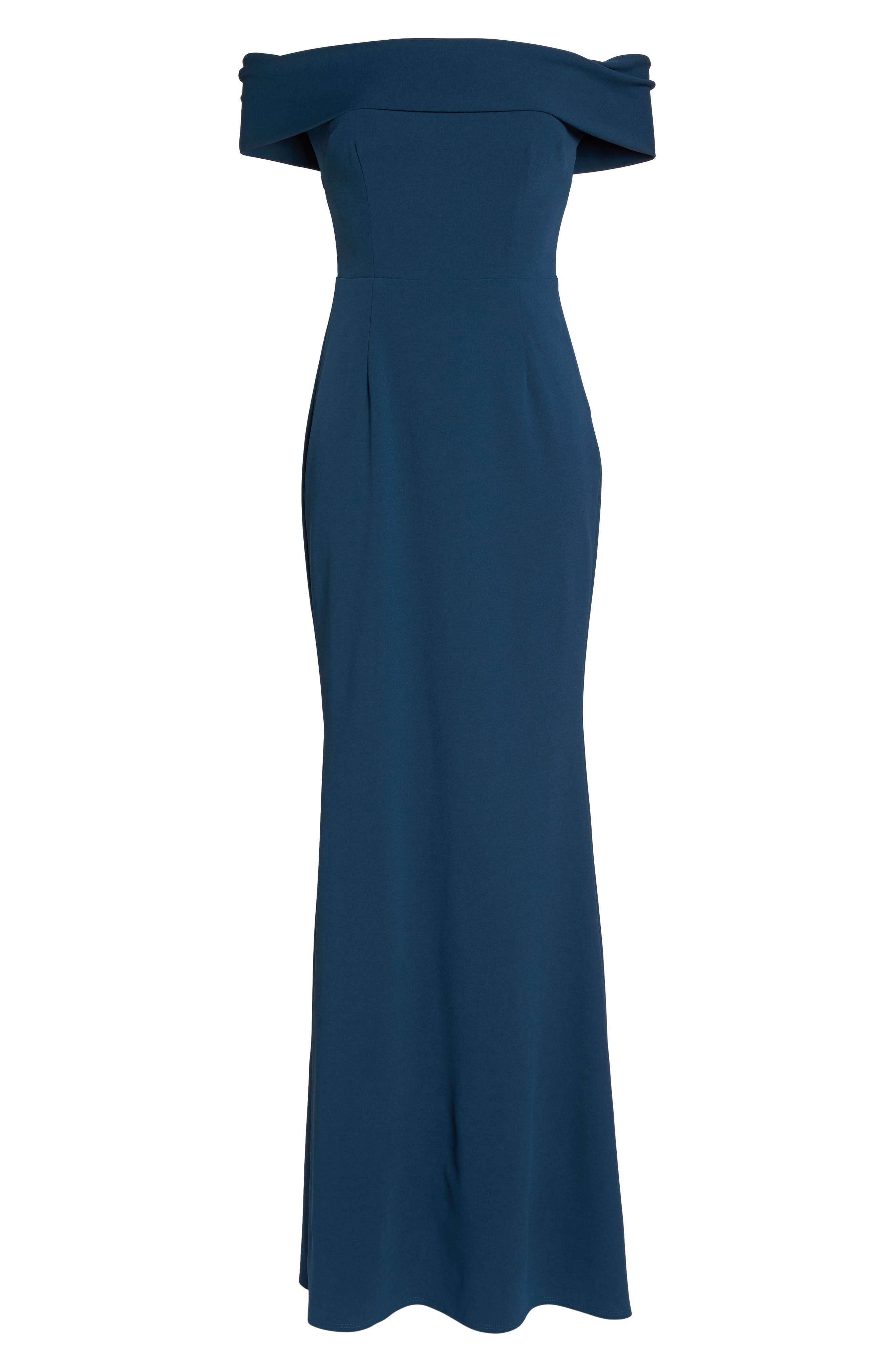 Legacy Crepe Body-Con Gown,                             Alternate thumbnail 6, color,                             TEAL