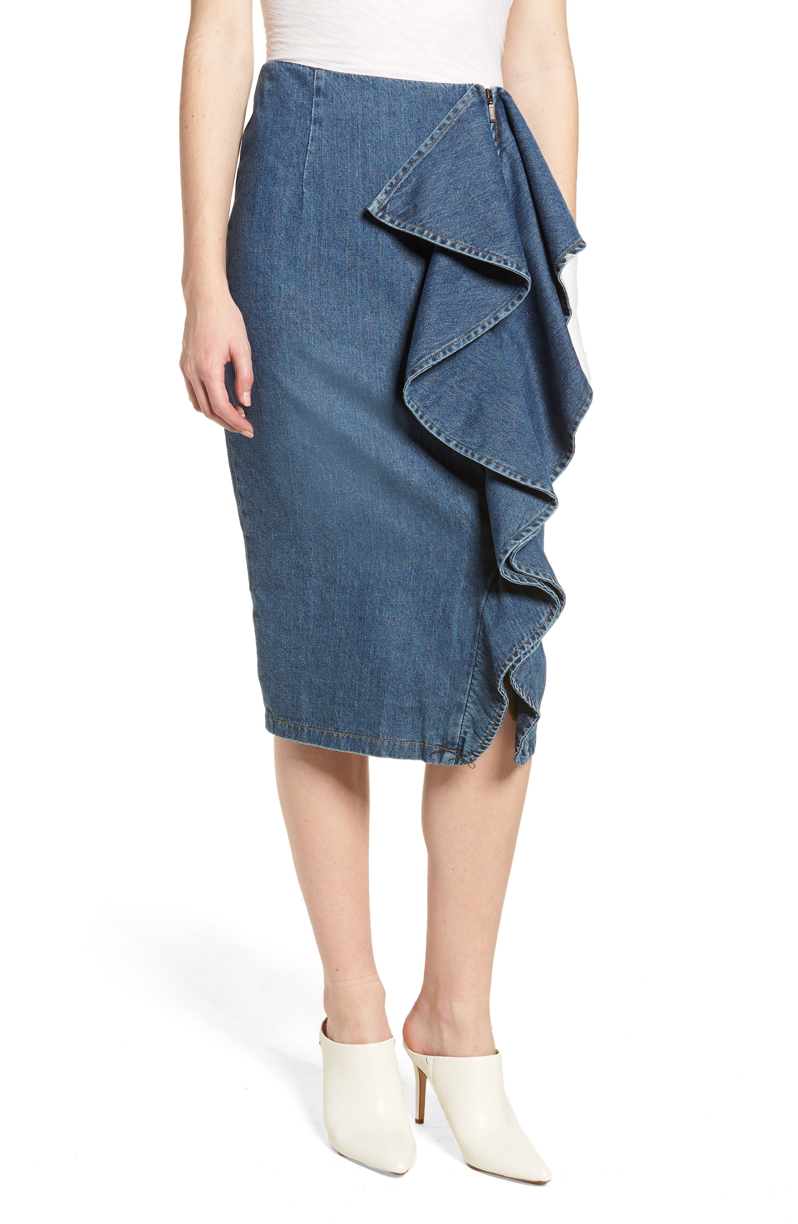 Side Ruffle Denim Pencil Skirt,                             Main thumbnail 1, color,