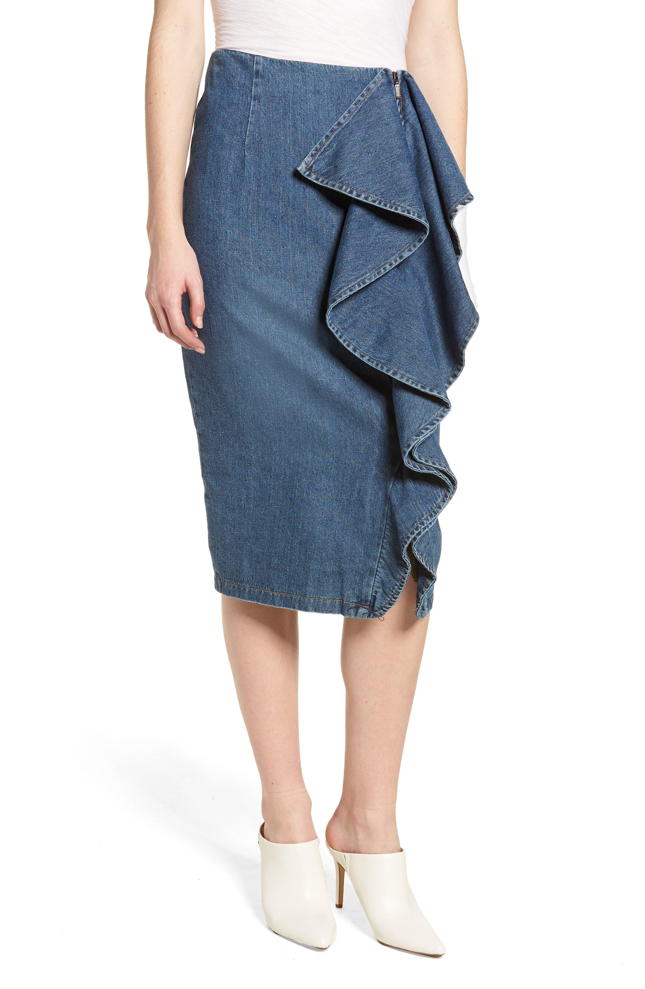 Side Ruffle Denim Pencil Skirt,                         Main,                         color, 400