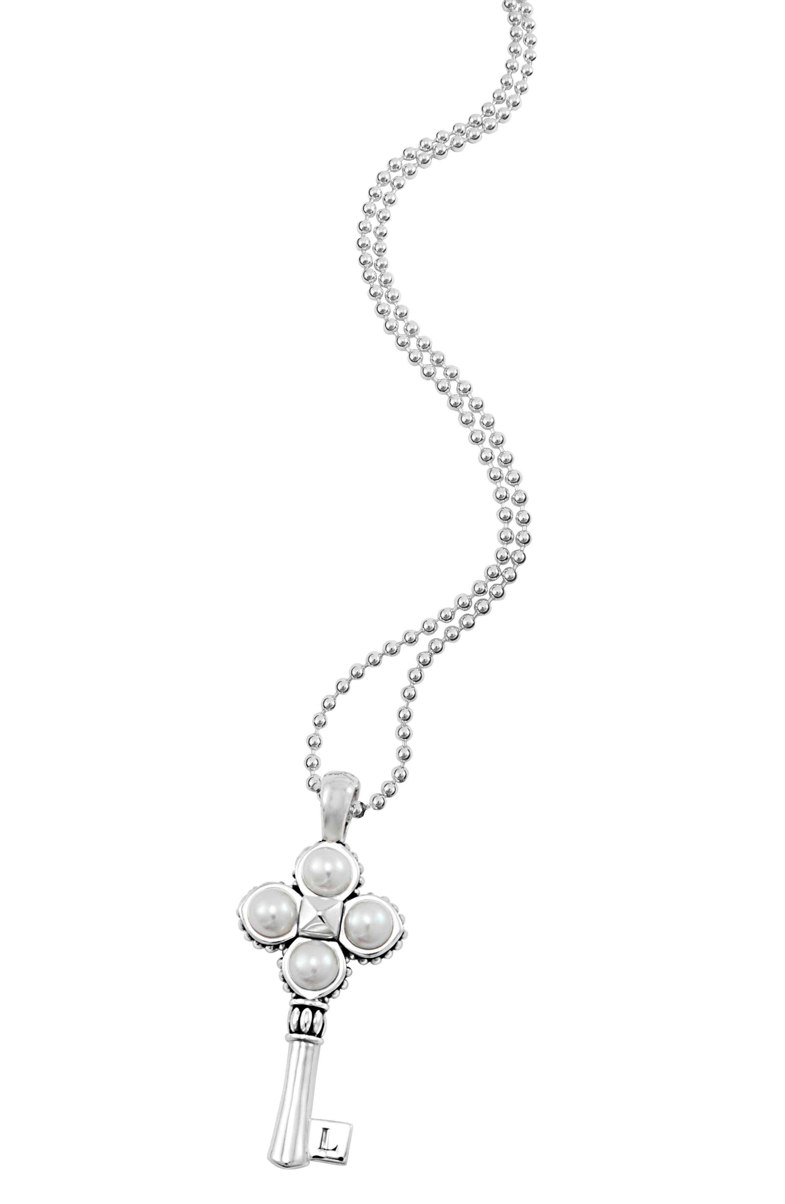 'Luna' Pearl Long Key Pendant Necklace,                             Alternate thumbnail 2, color,
