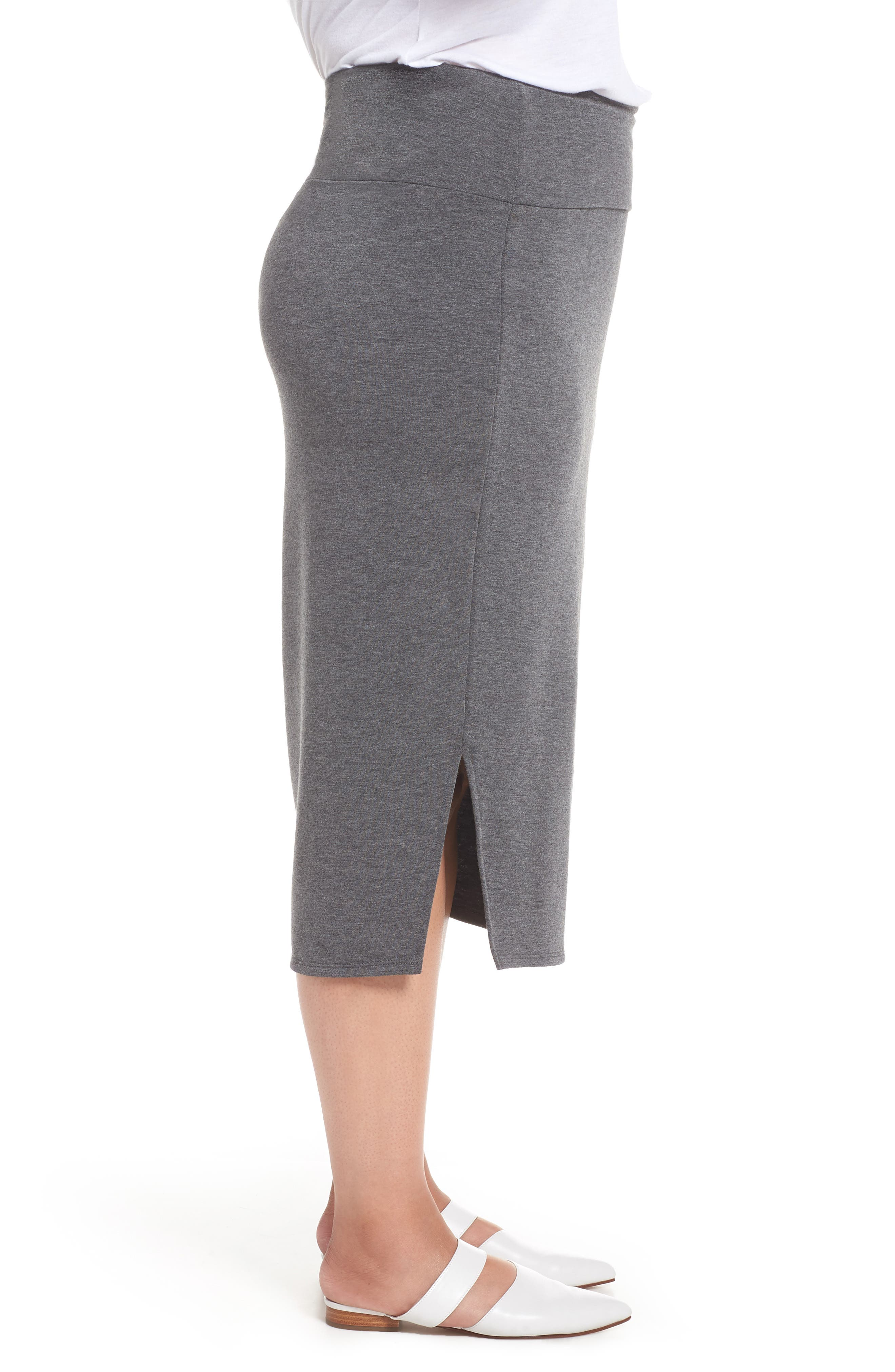 Off Duty Knit Skirt,                             Alternate thumbnail 3, color,                             GREY DARK CHARCOAL HEATHER