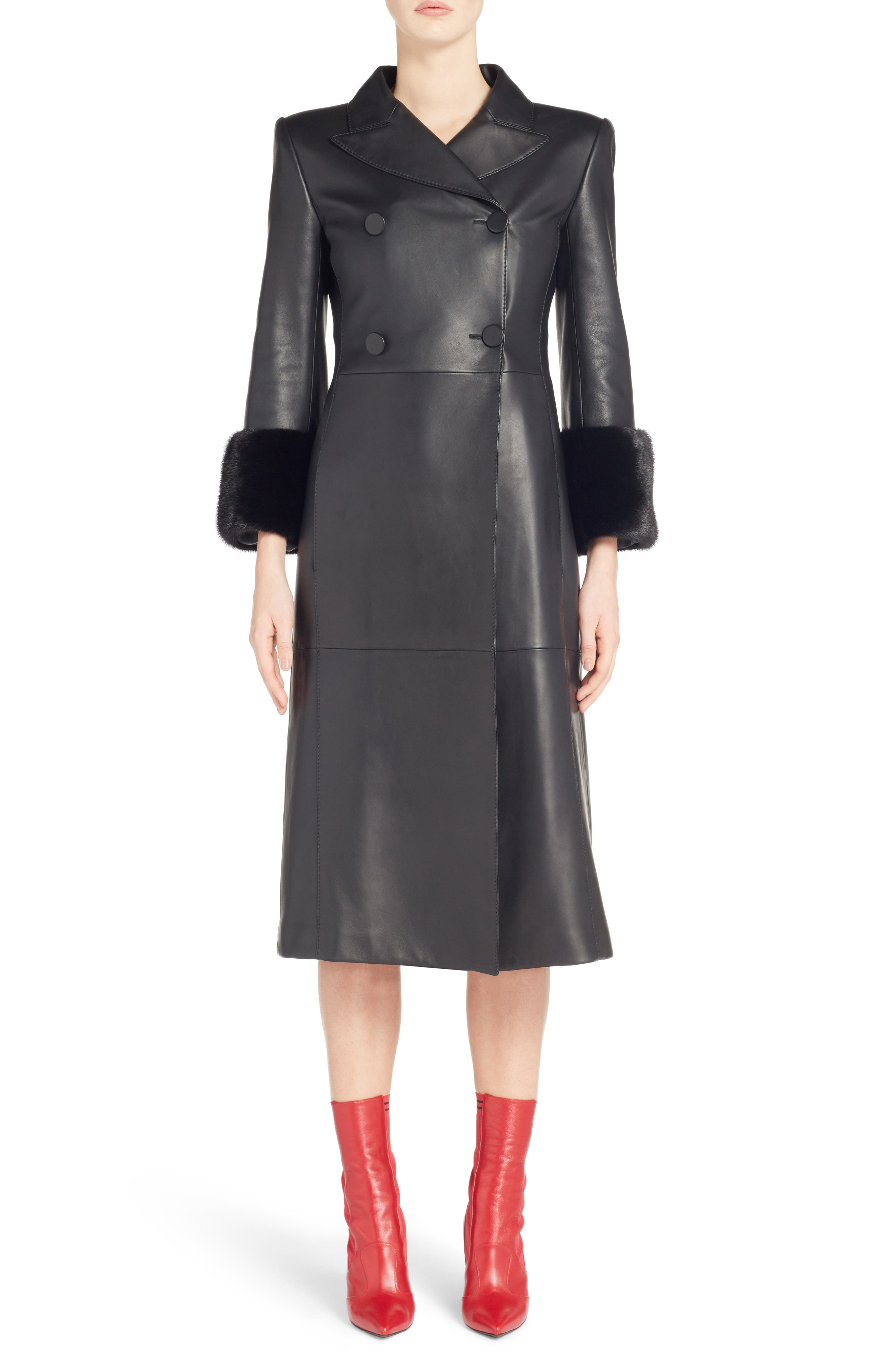 FENDI,                             Leather Double Breasted Coat with Genuine Mink Fur Trim,                             Main thumbnail 1, color,                             BLACK