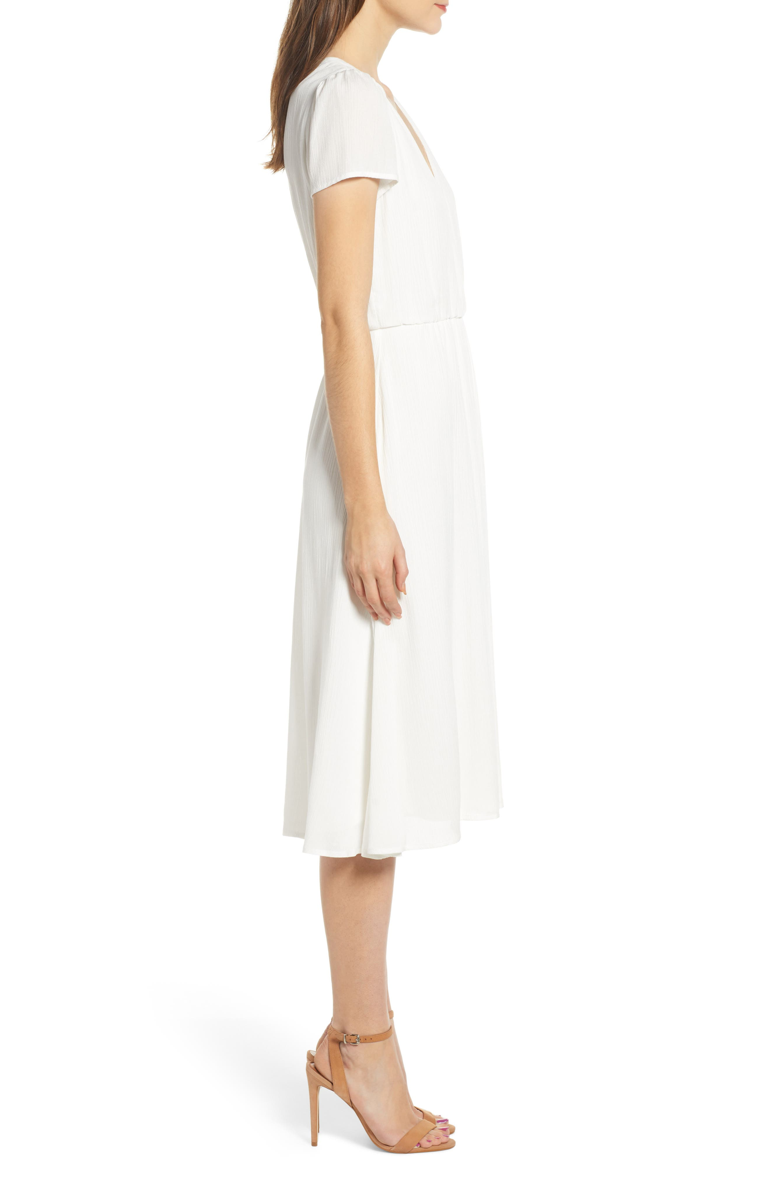 WAYF,                             Blouson Midi Dress,                             Alternate thumbnail 3, color,                             WHITE