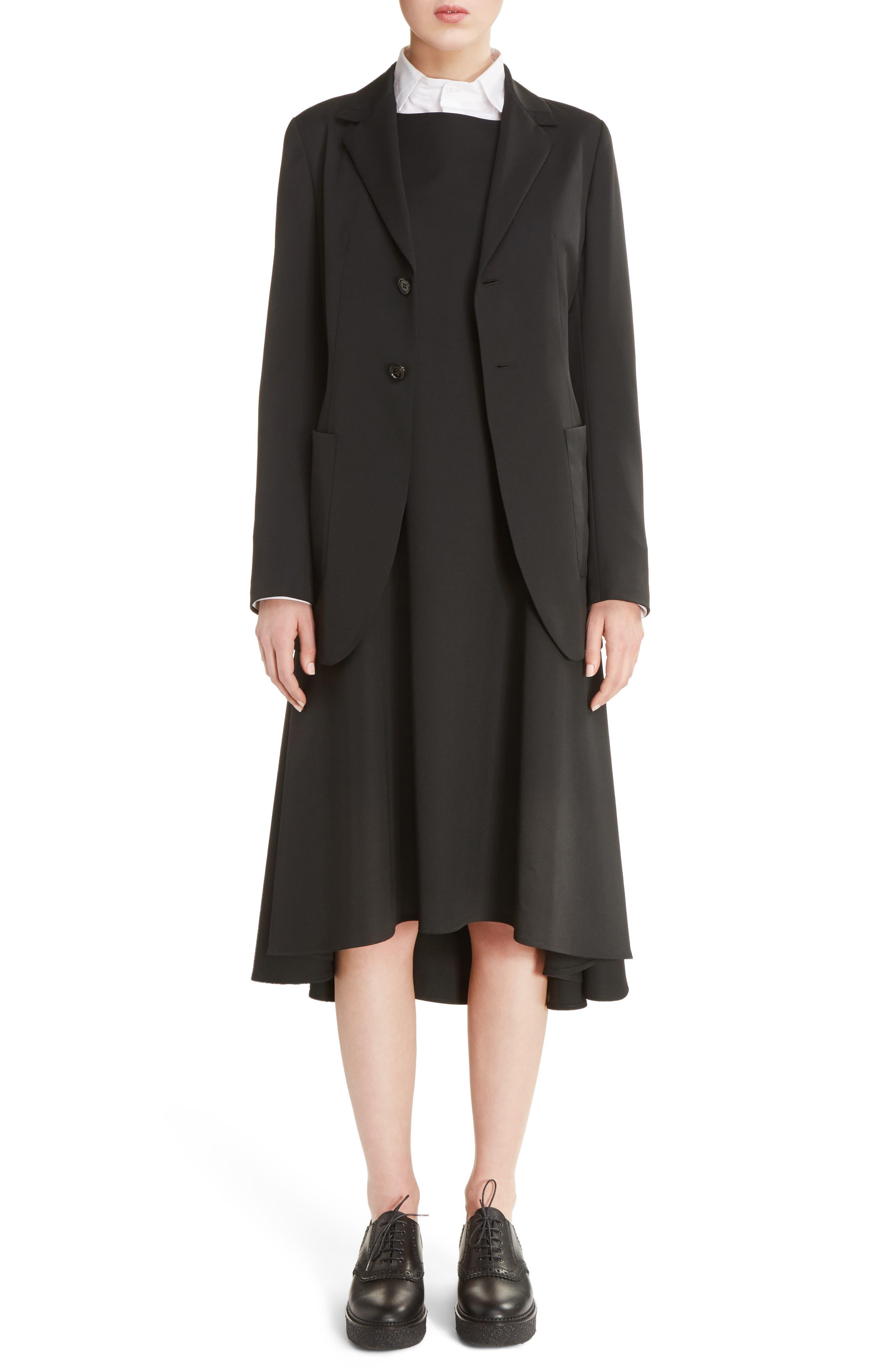 V-Back Sleeveless Wool Dress,                             Alternate thumbnail 6, color,                             001