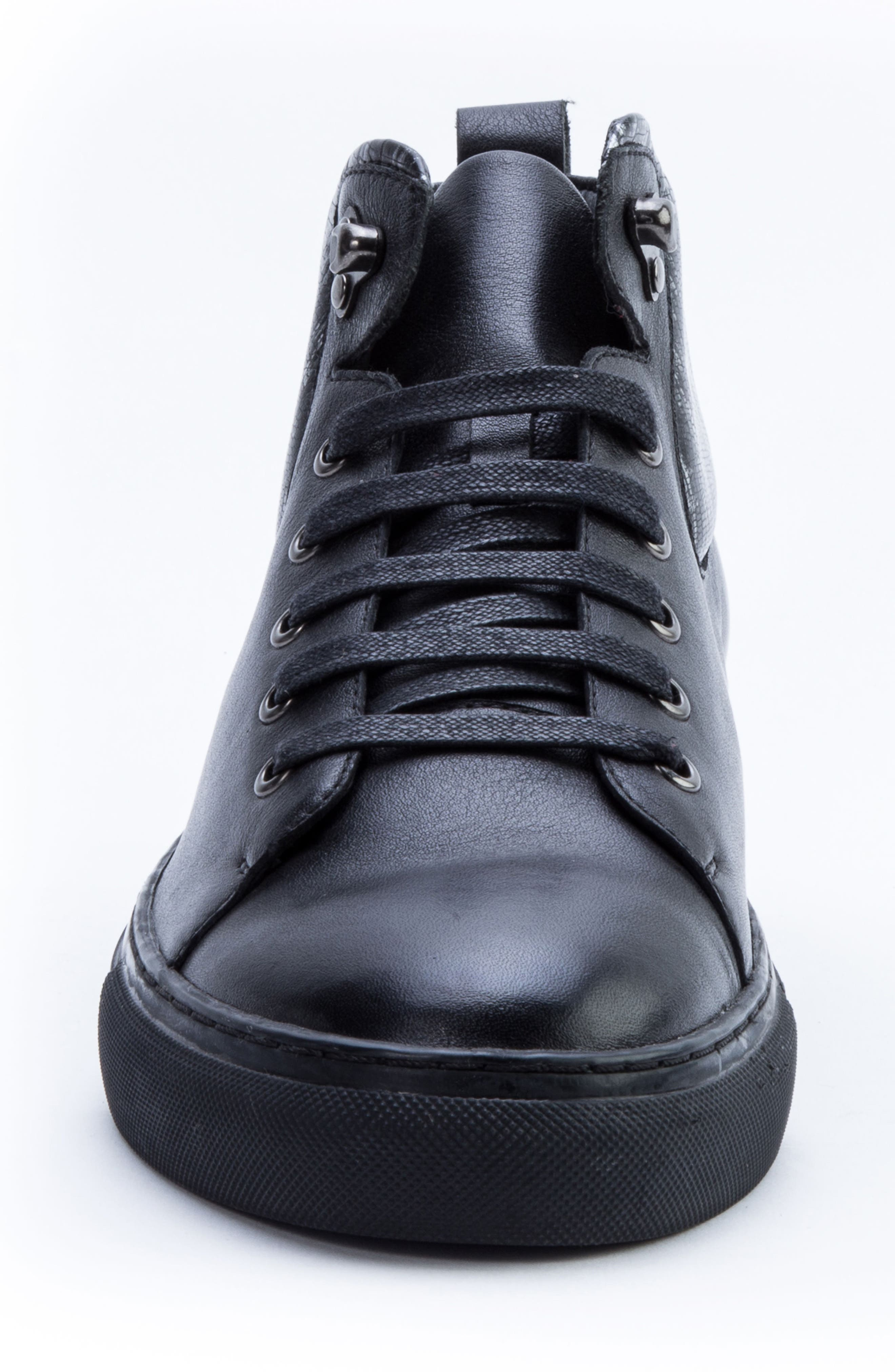 Badgley Mischka Carroll Sneaker,                             Alternate thumbnail 4, color,                             BLACK LEATHER