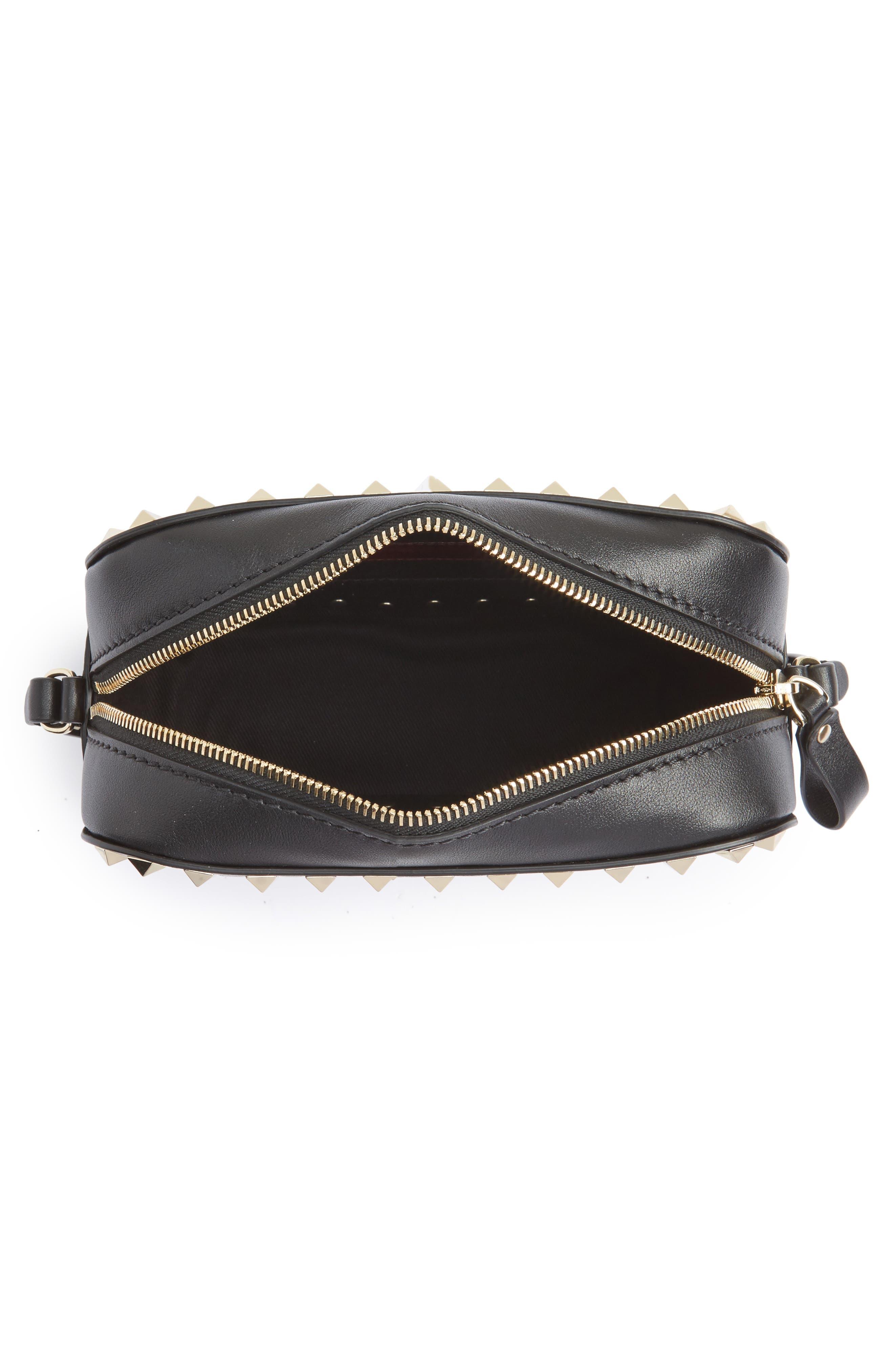 'Rockstud' Calfskin Leather Camera Crossbody Bag,                             Alternate thumbnail 3, color,                             NERO