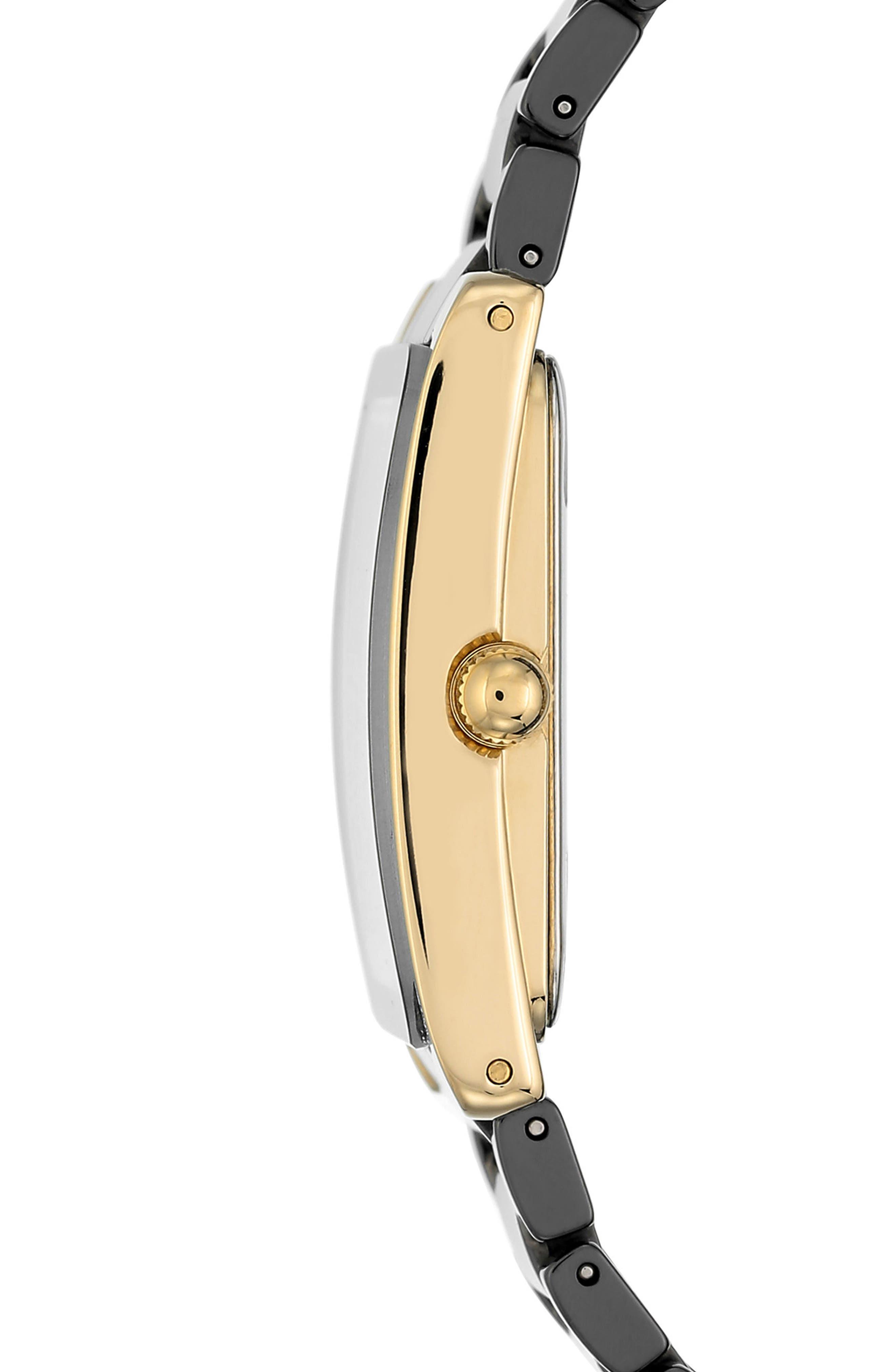 Rectangle Ceramic Bracelet Watch, 28mm x 35mm,                             Alternate thumbnail 3, color,                             BLACK/ GOLD