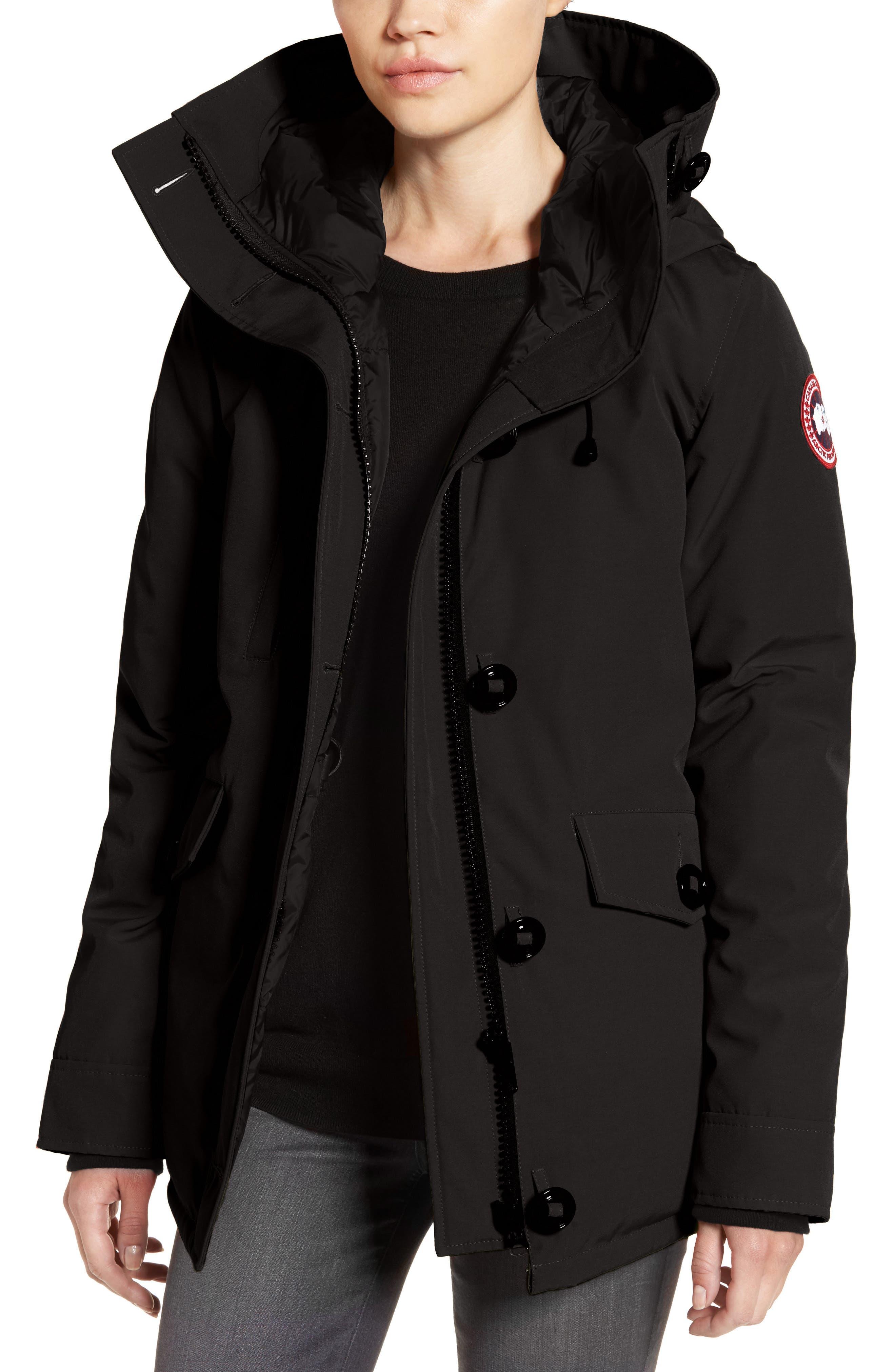 'Rideau' Slim Fit Down Parka,                         Main,                         color, BLACK