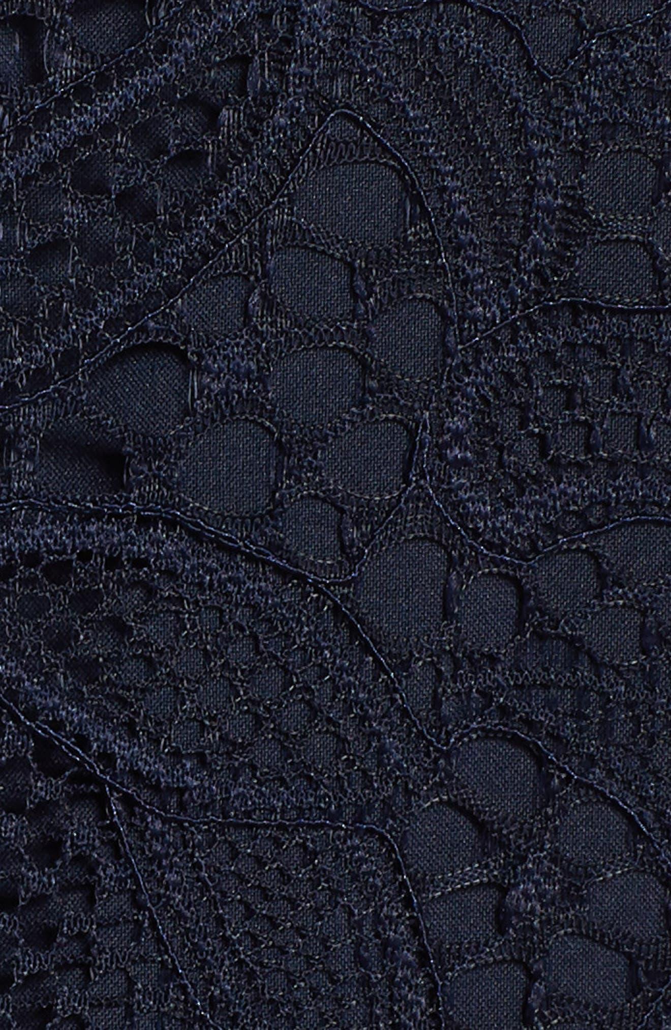 Halter Neck Lace Midi Dress,                             Alternate thumbnail 6, color,                             NAVY