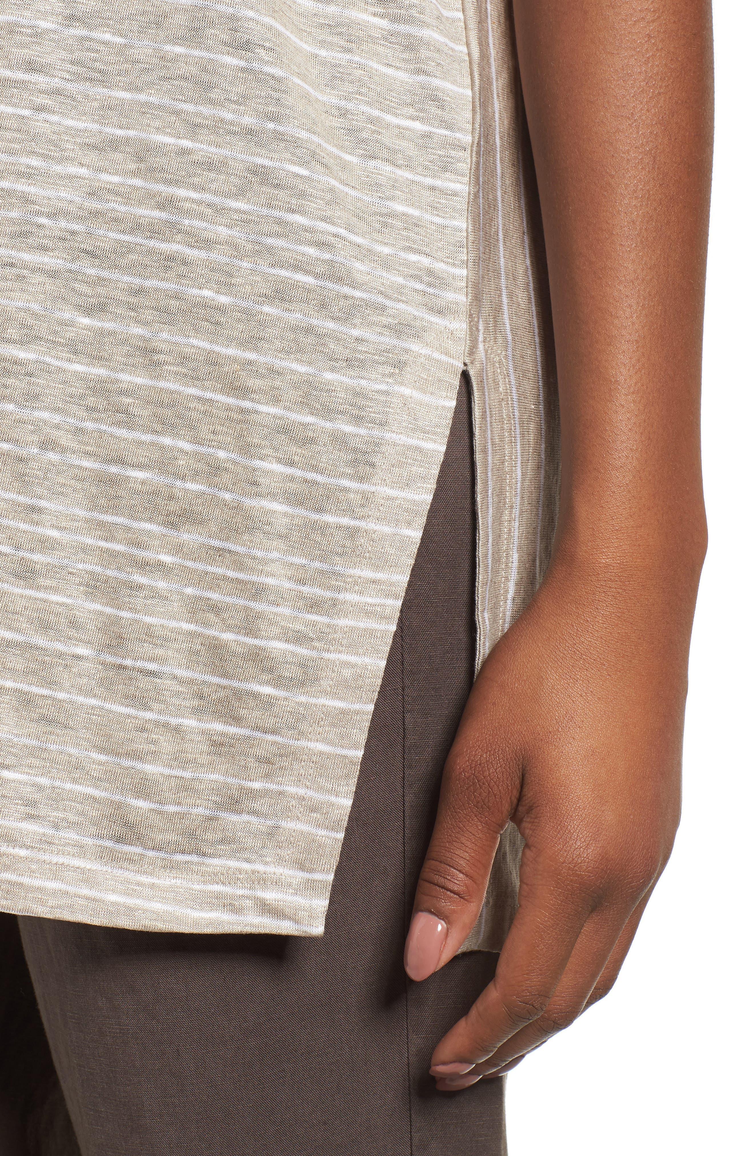 Stripe Organic Linen Tunic,                             Alternate thumbnail 9, color,