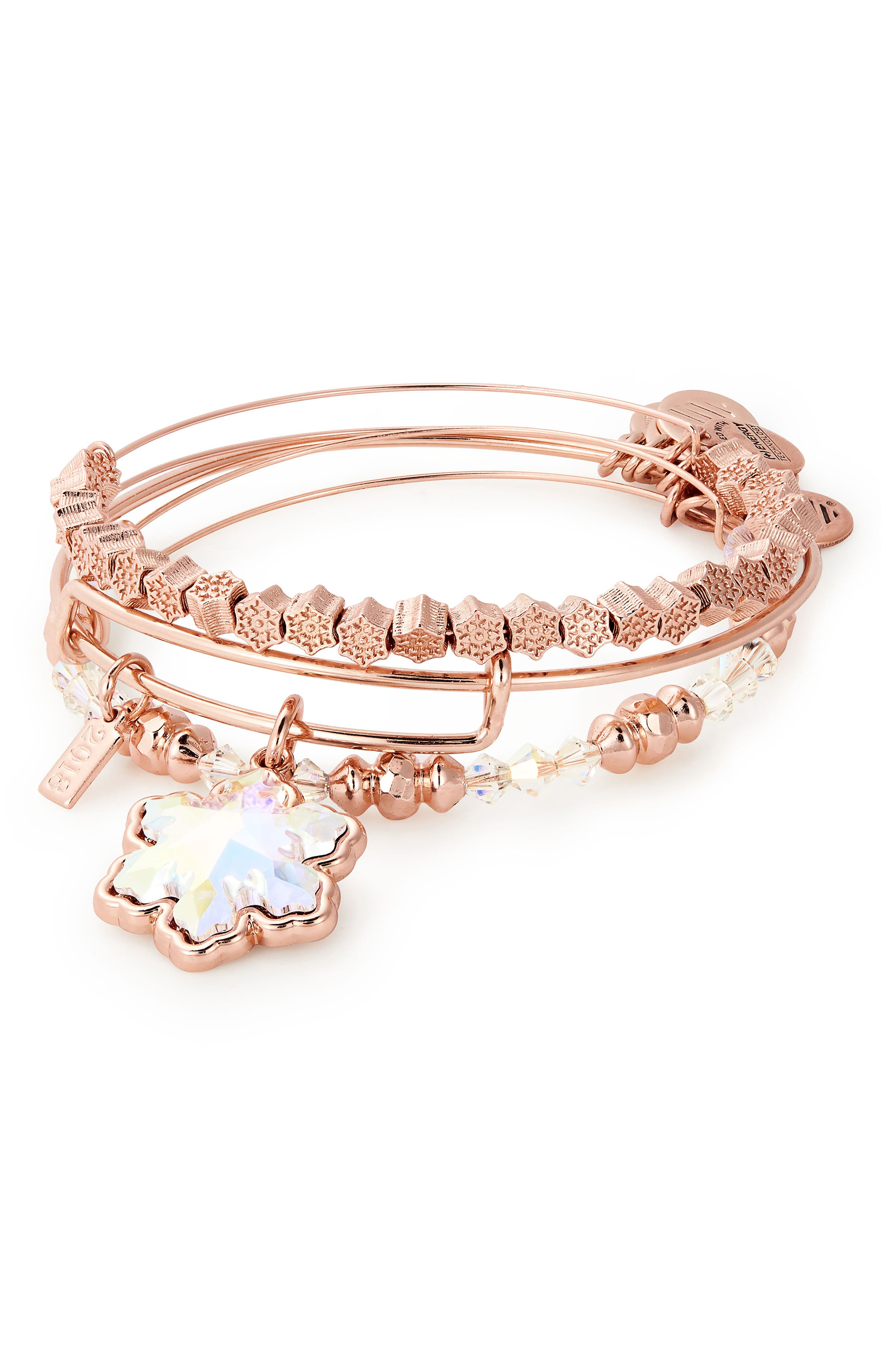 Snowflake Set of 3 Adjustable Wire Bangles,                             Main thumbnail 1, color,                             ROSE GOLD