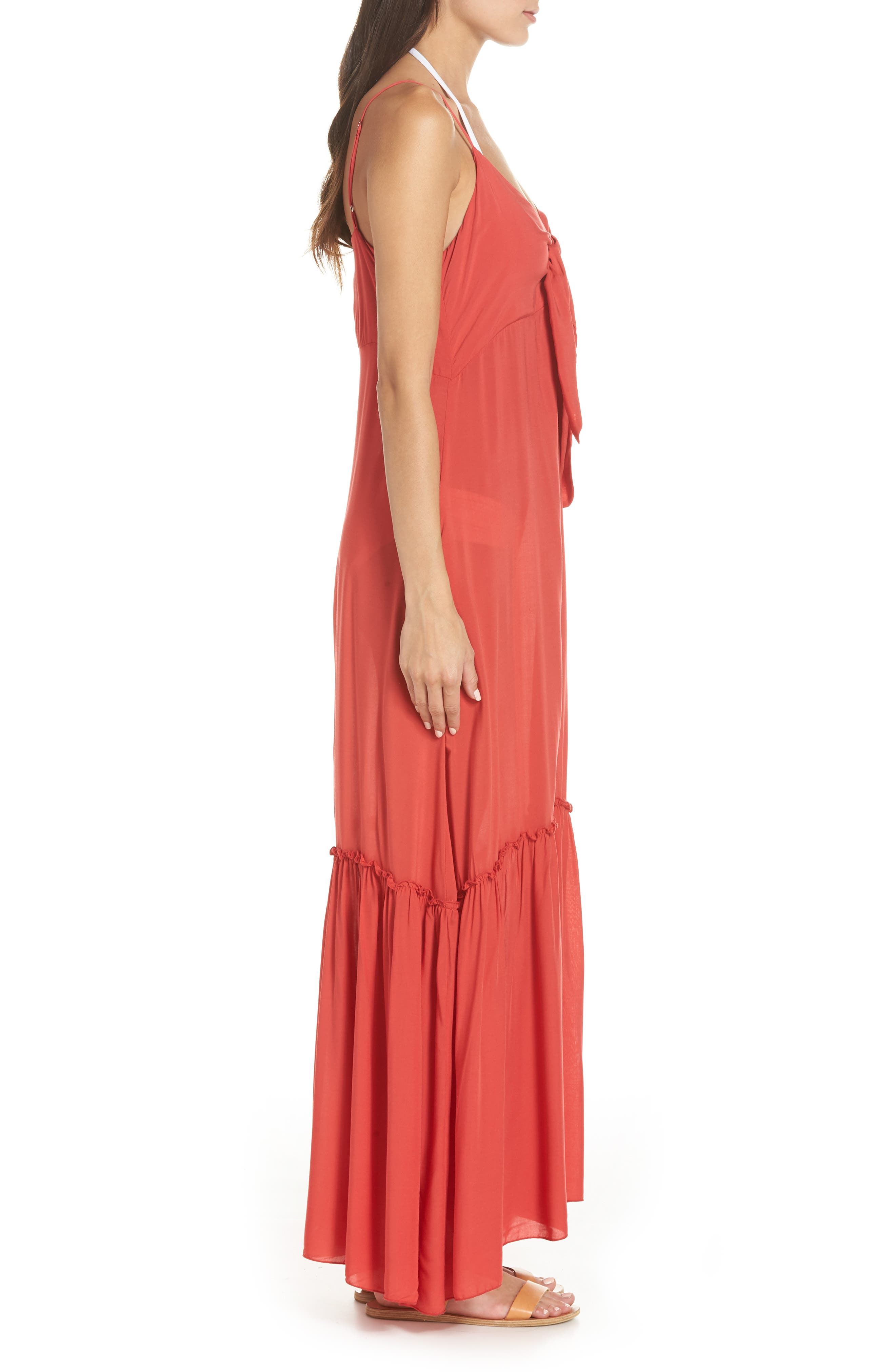 Maxi Cover-Up Dress,                             Alternate thumbnail 3, color,                             CORAL