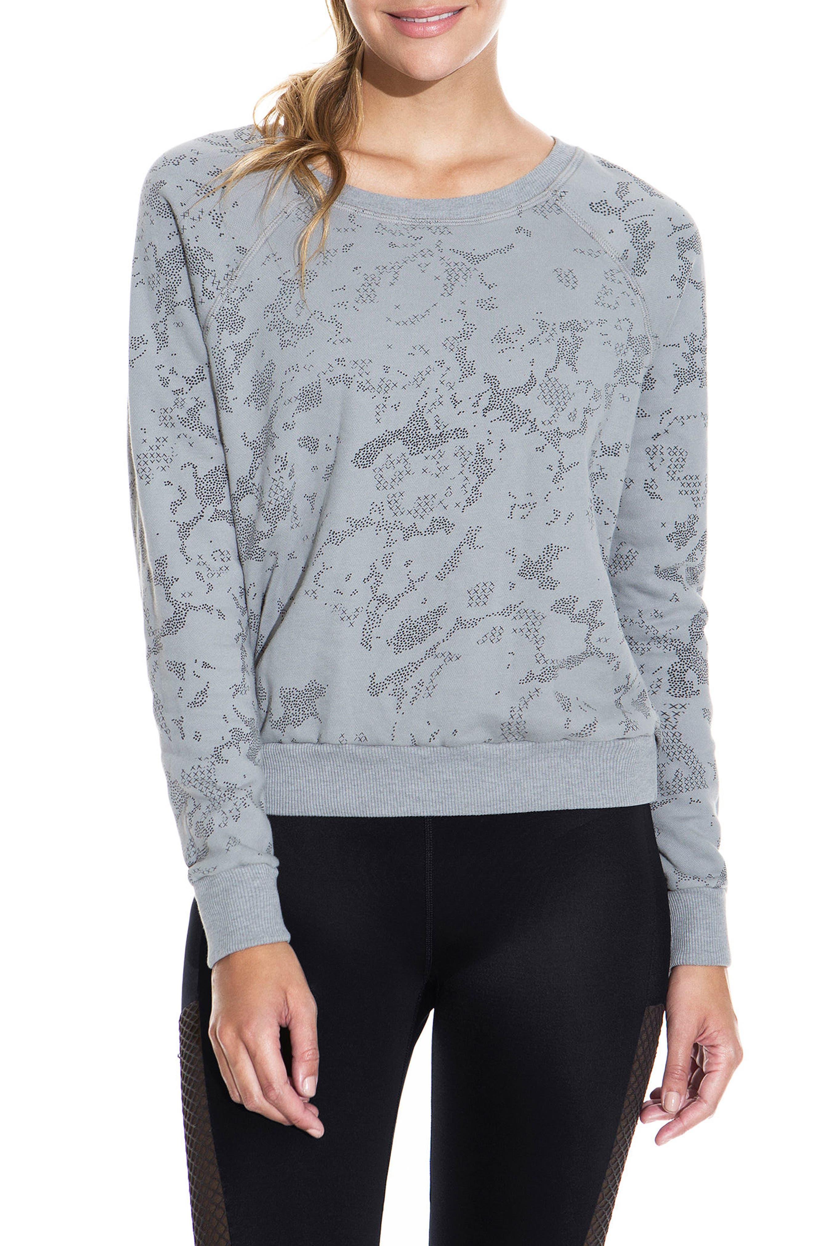 Sleek Camo Granite Sweatshirt,                             Main thumbnail 1, color,                             MED GRAY