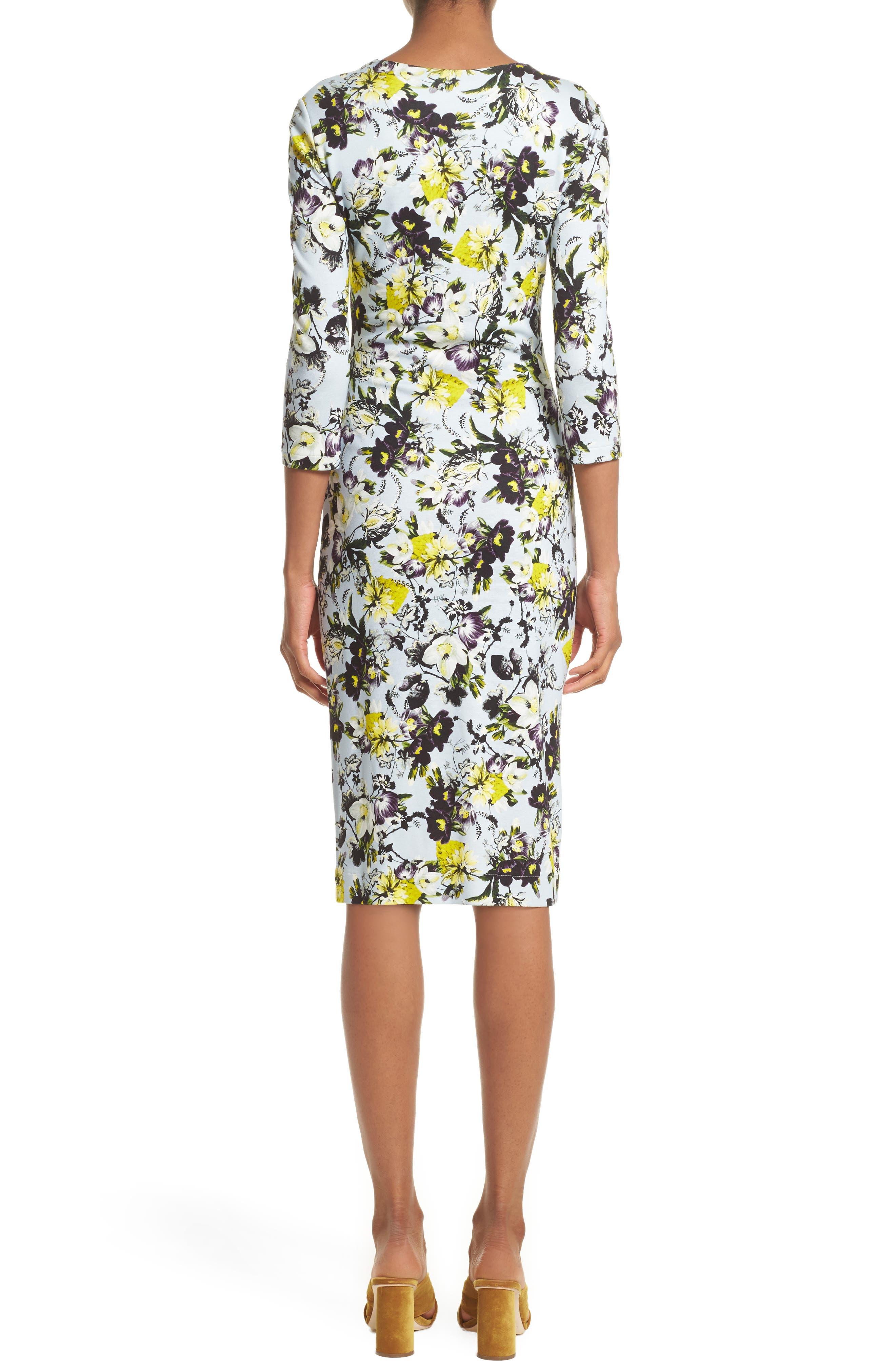Floral Jersey Sheath Dress,                             Alternate thumbnail 2, color,                             700