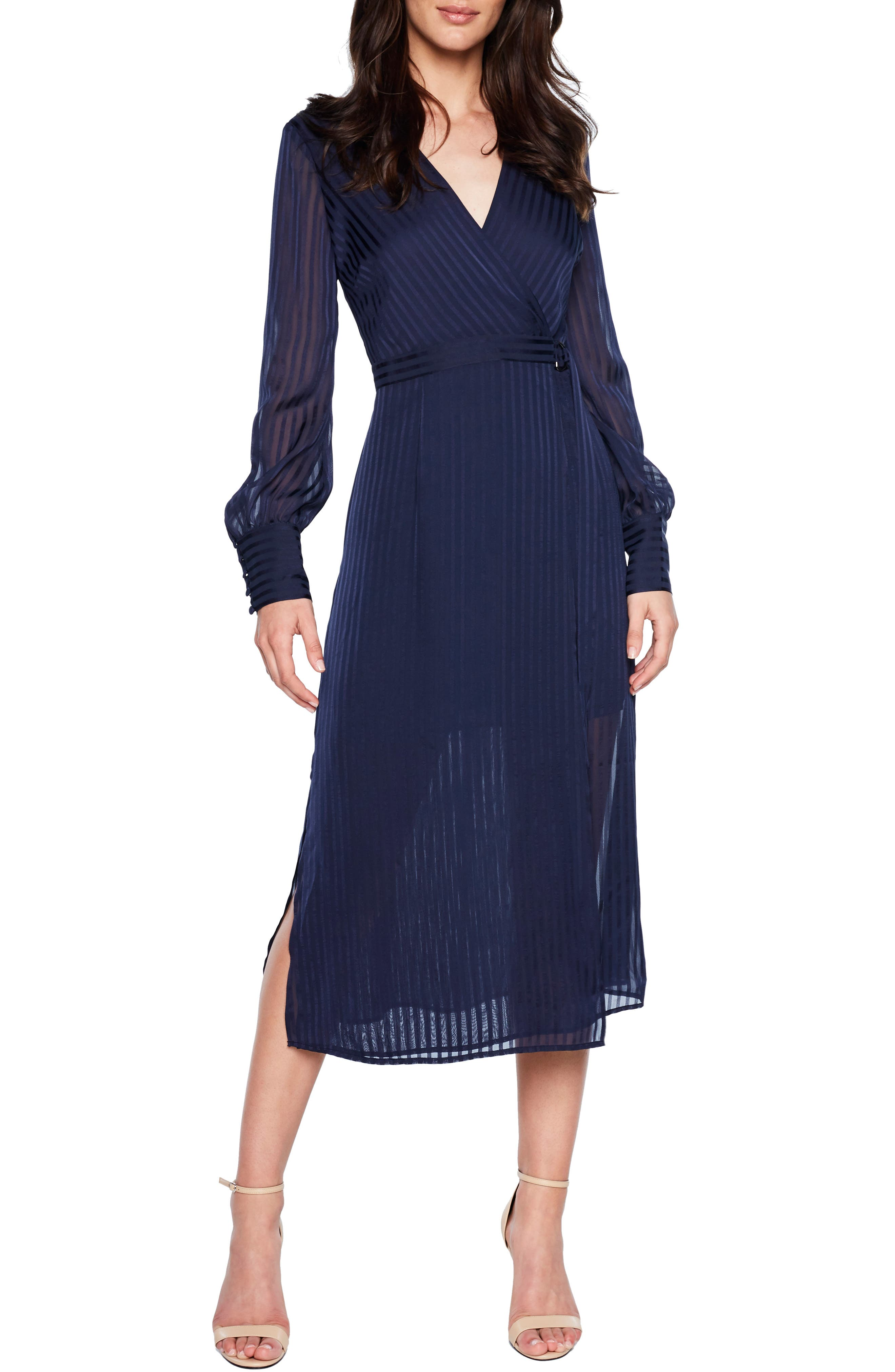 Shadow Stripe Faux Wrap Midi Dress,                         Main,                         color, FRENCH NAVY